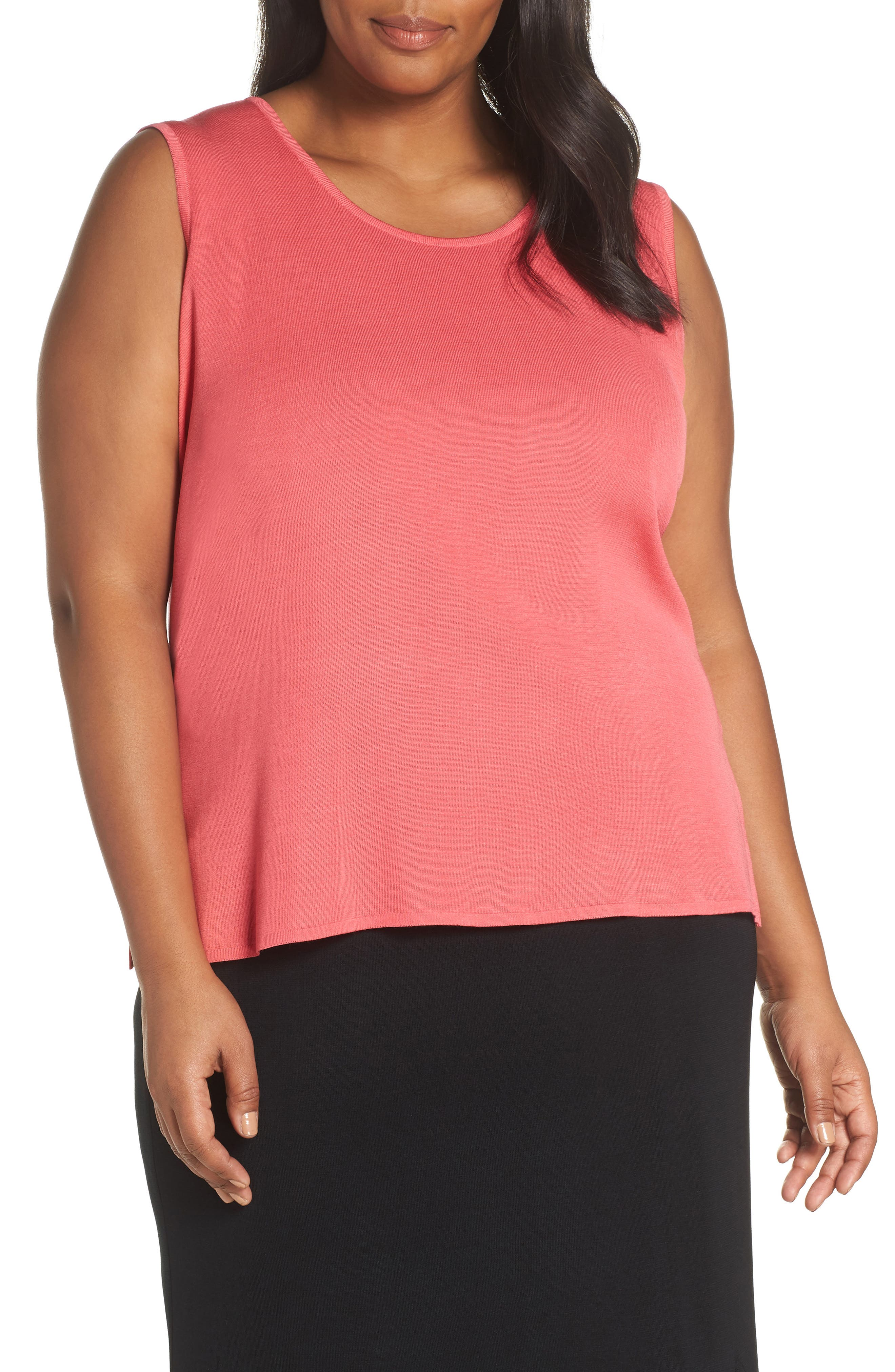 Plus Size Ming Wang Scoop Neck Tank, Red