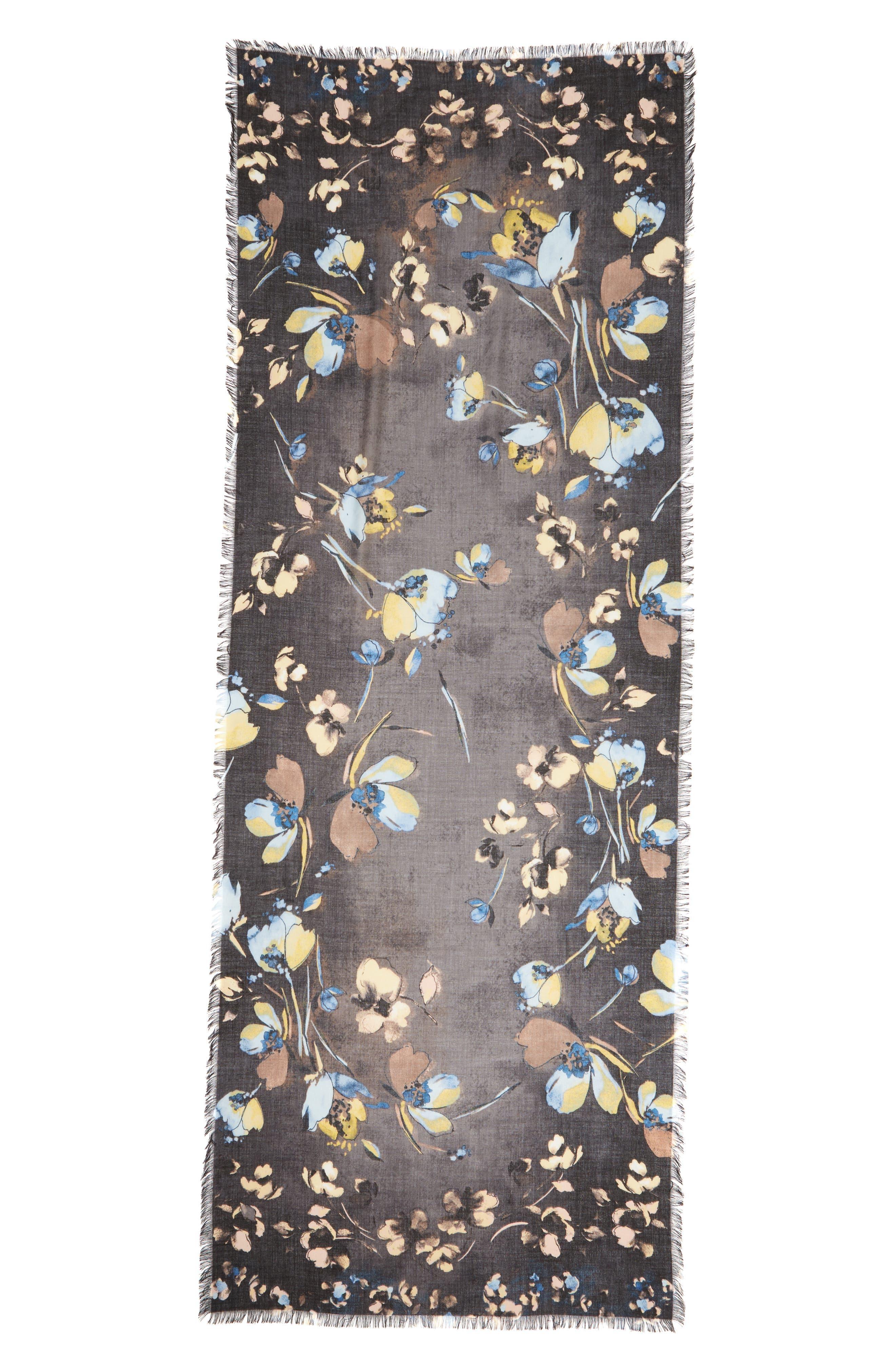 Eyelash Trim Print Cashmere & Silk Wrap,                             Alternate thumbnail 3, color,                             BLACK VINE FLORAL