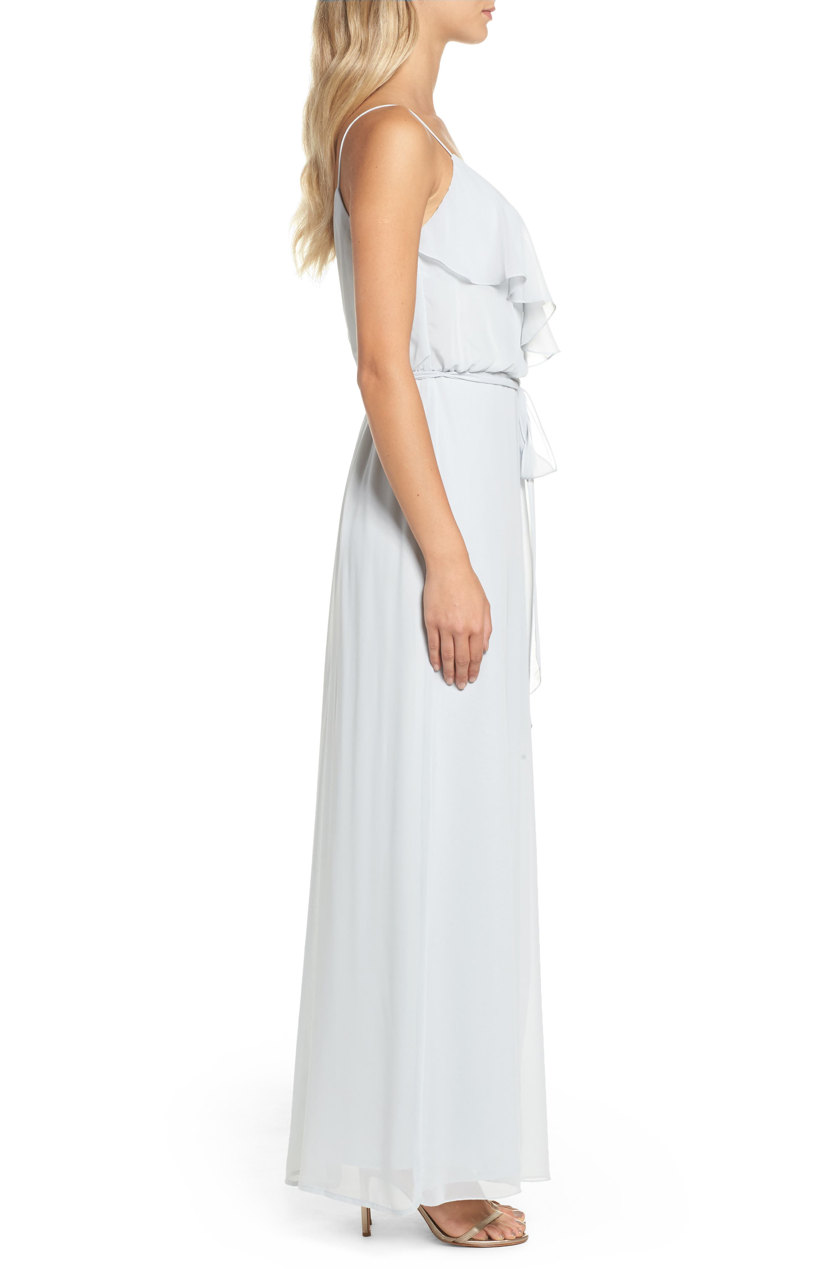'Drew' Ruffle Front Chiffon Gown,                             Alternate thumbnail 3, color,                             052
