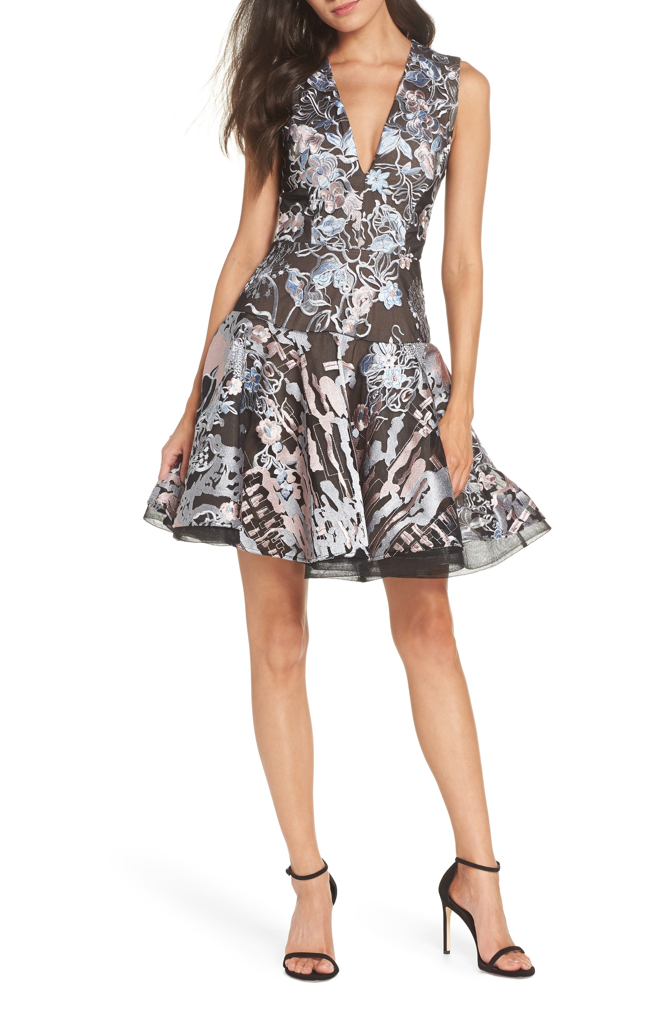 BRONX AND BANCO Bronx & Banco Tokyo Embroidered Fit And Flare Mini Dress in Multi Color