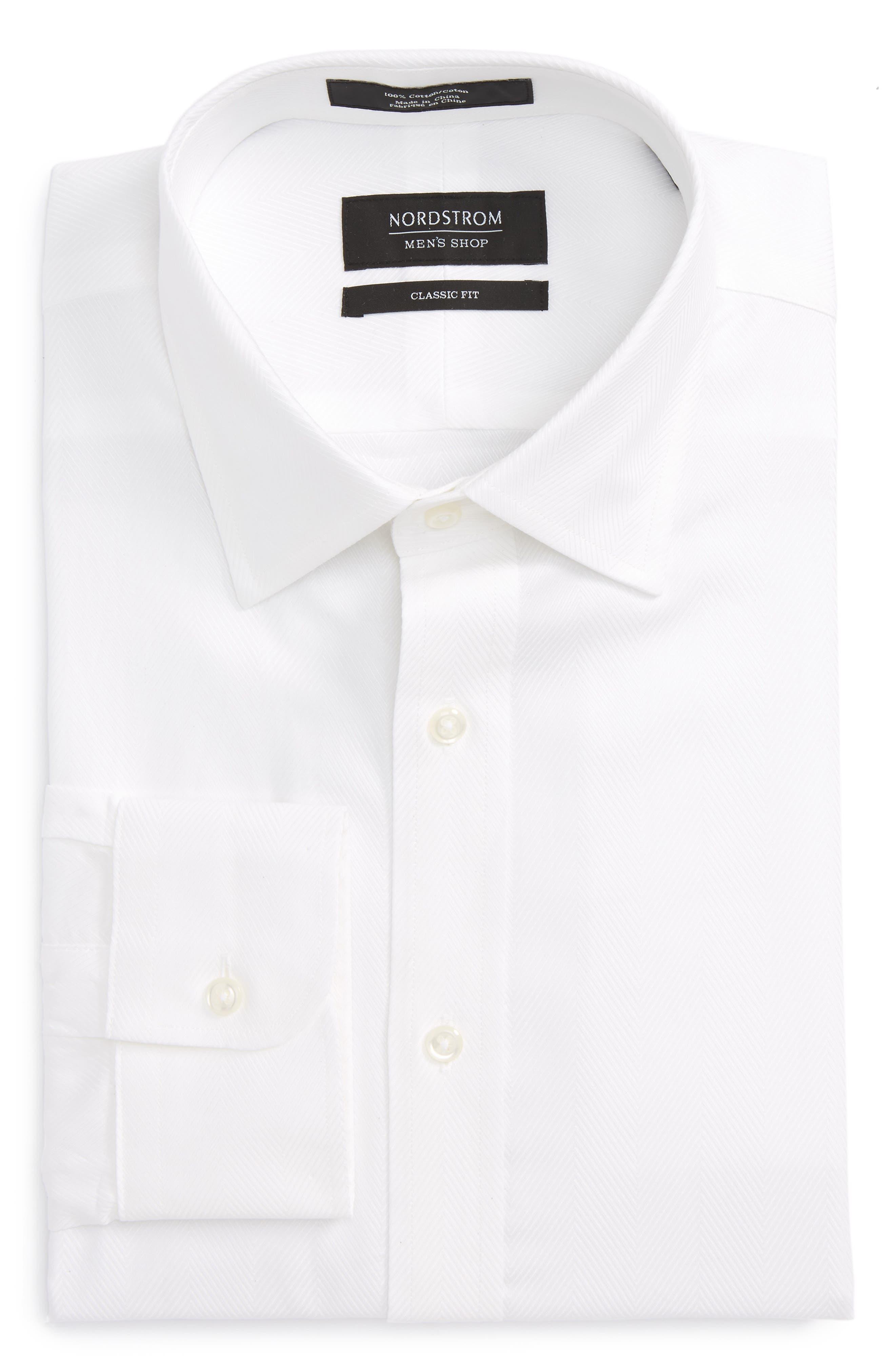 Classic Fit Herringbone Dress Shirt,                             Alternate thumbnail 5, color,                             100