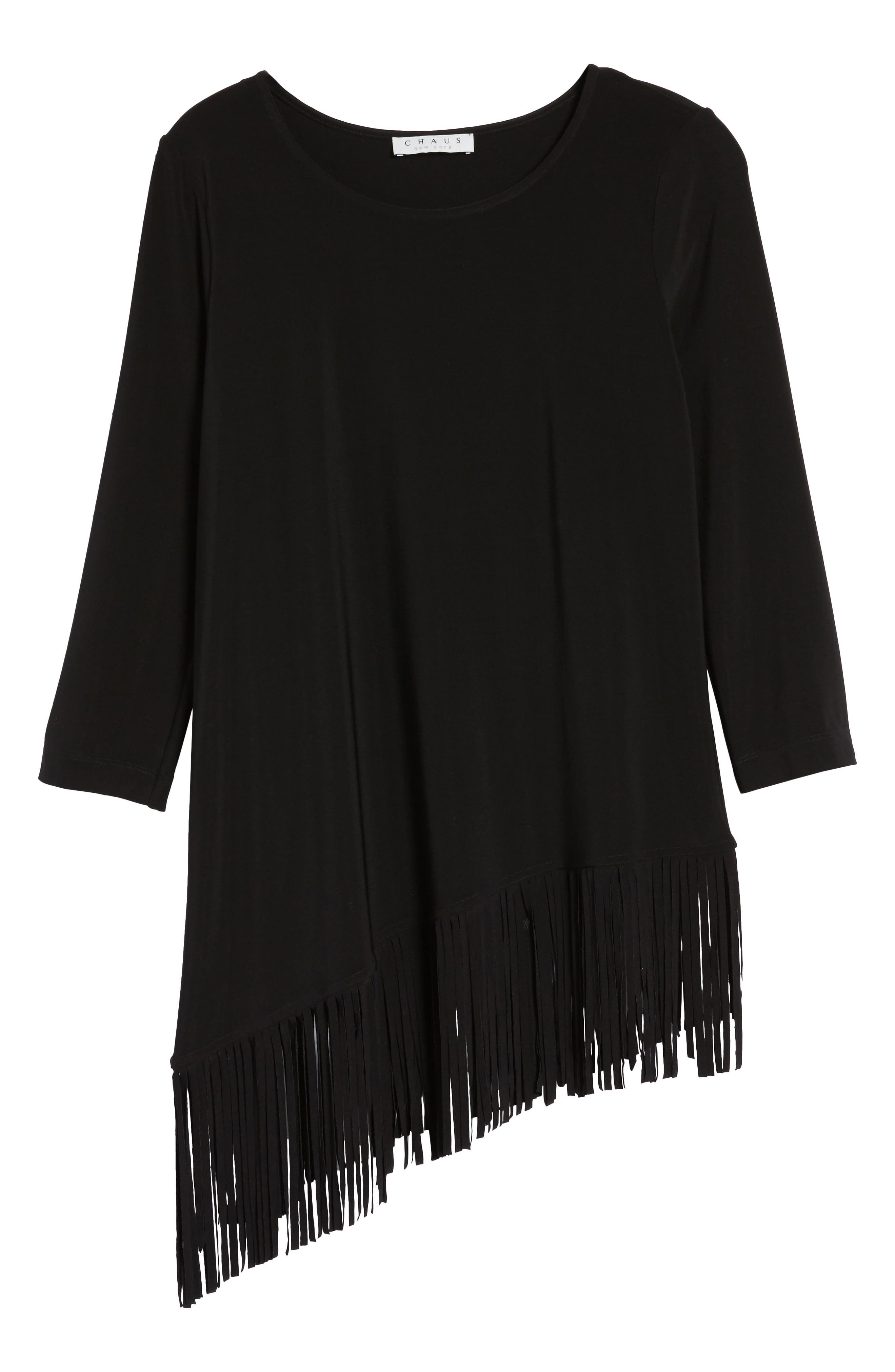 Asymmetrical Fringe Hem Top,                             Alternate thumbnail 6, color,                             010