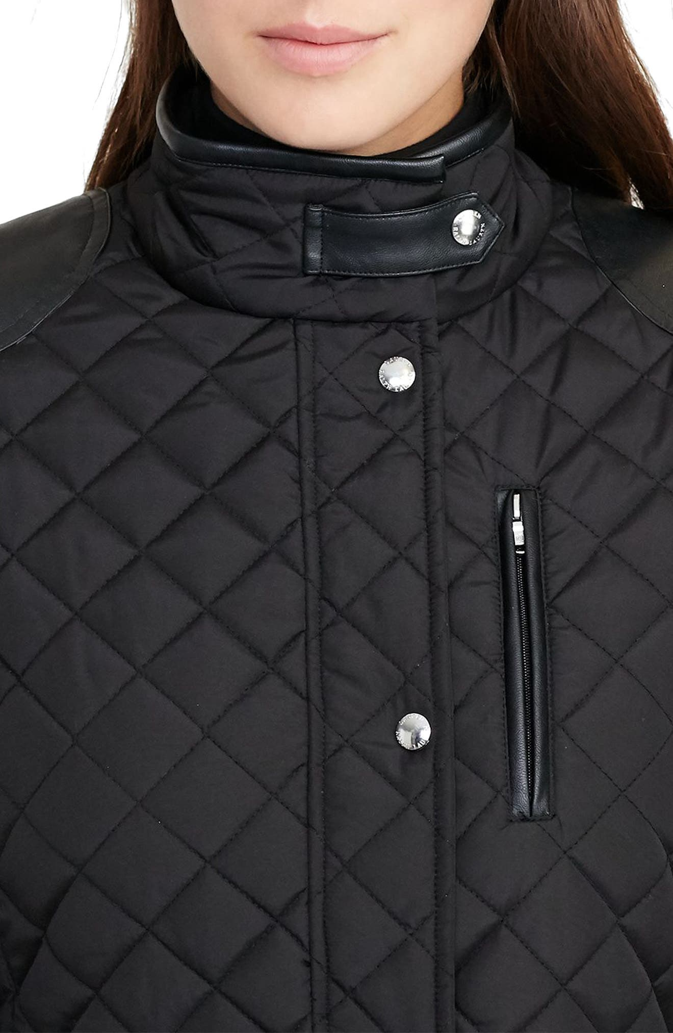 Faux Leather Trim Quilted Jacket,                             Alternate thumbnail 17, color,