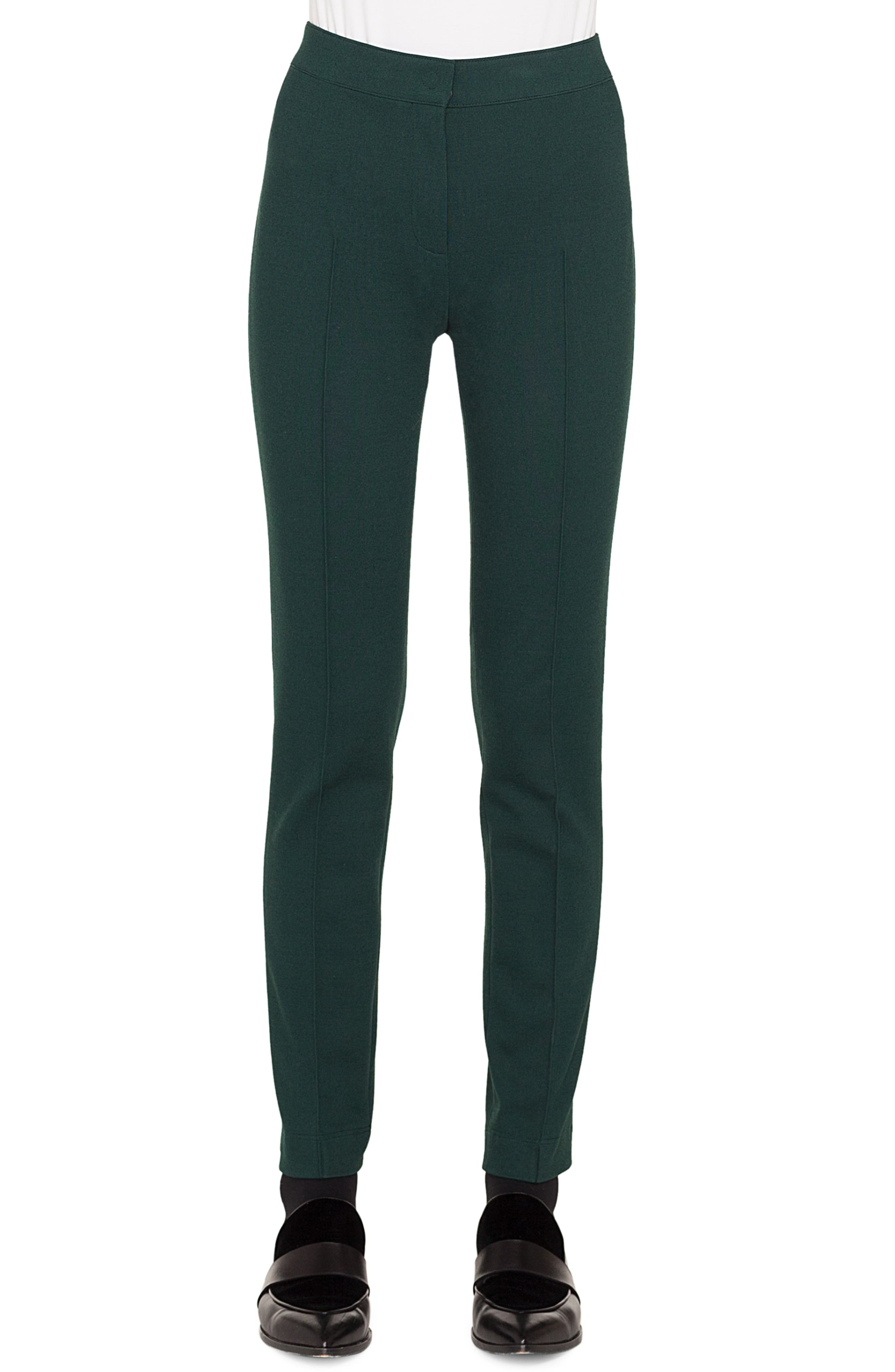 Mara Skinny Stretch-Melange Pants in Ivy