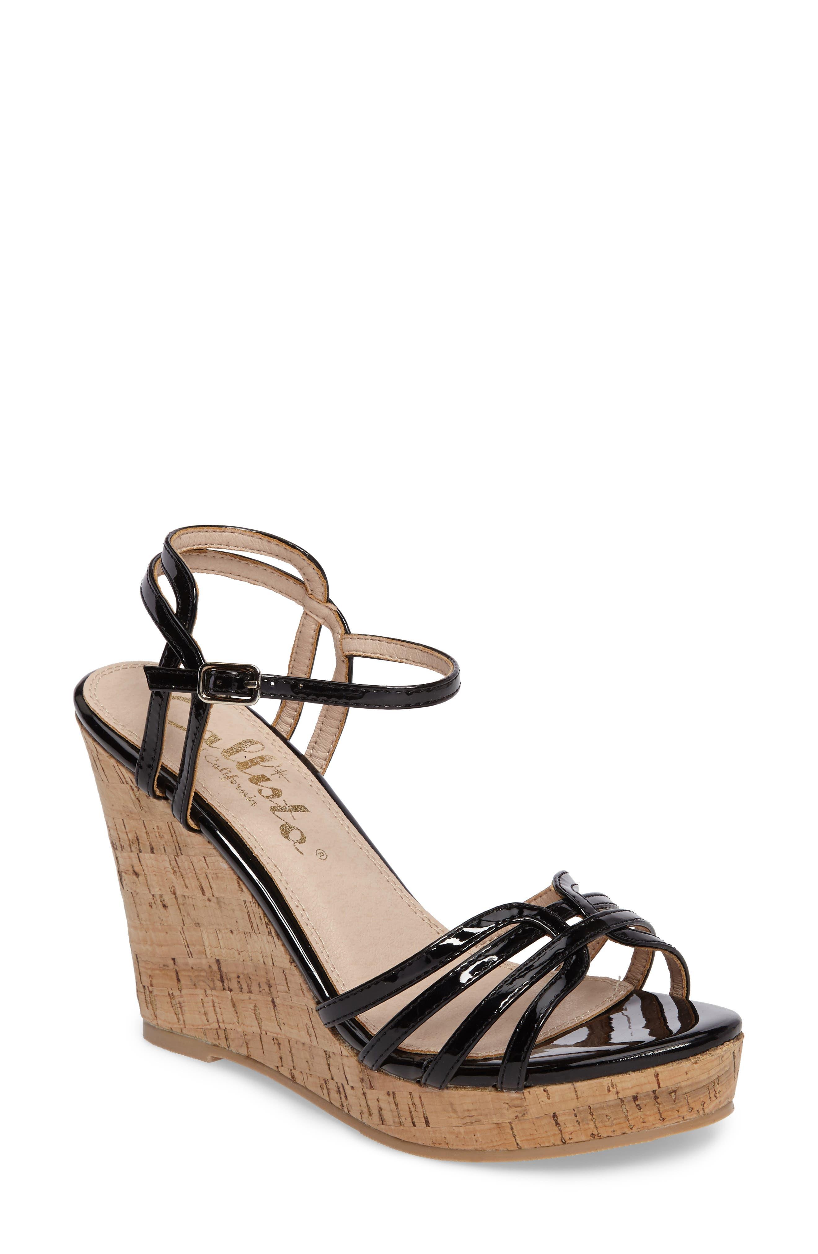Oasis Platform Wedge Sandal,                             Main thumbnail 1, color,                             BLACK SYNTHETIC