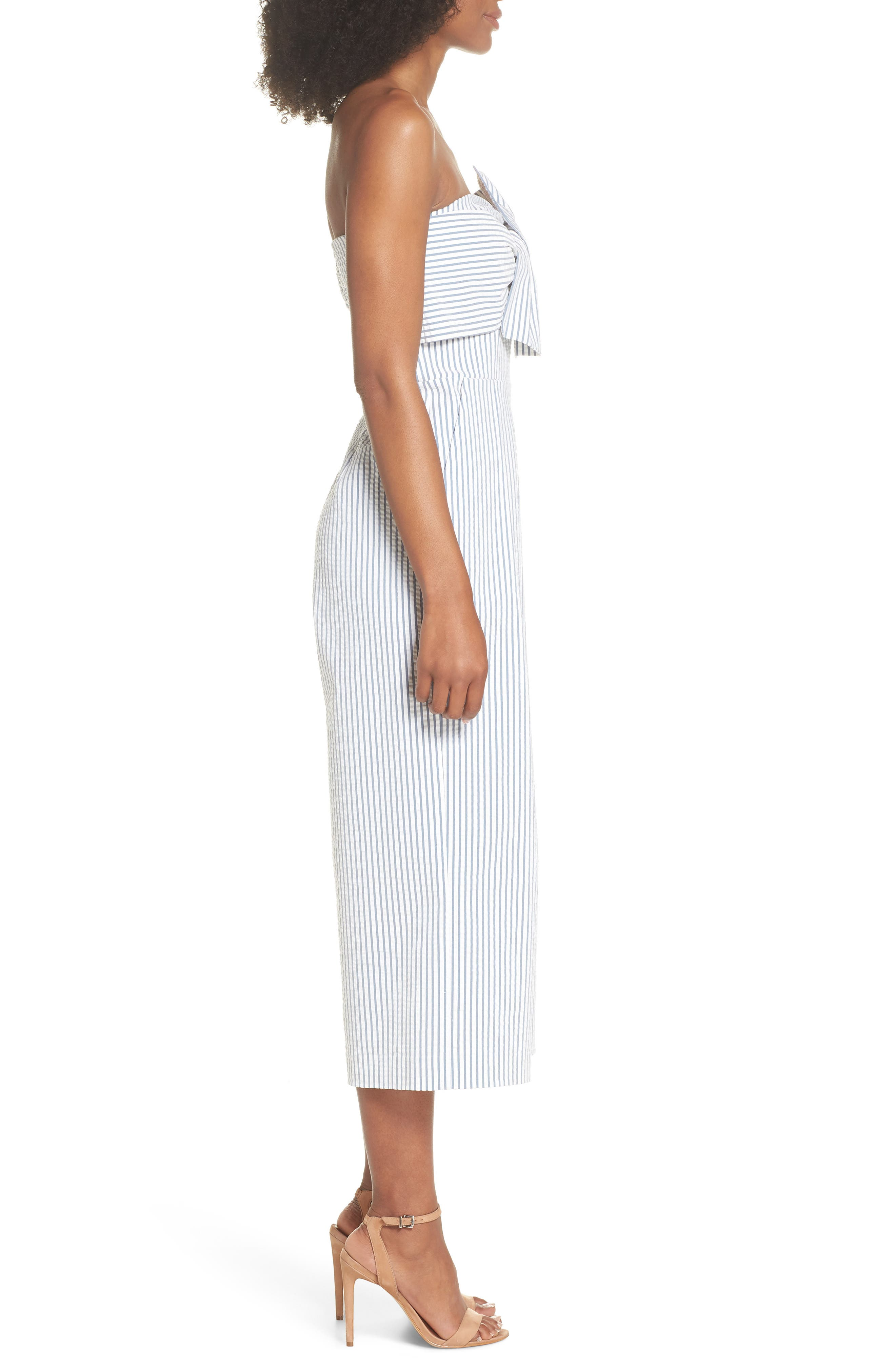 Twist Front Seersucker Crop Jumpsuit,                             Alternate thumbnail 3, color,                             BLUE/ WHITE STRIPE