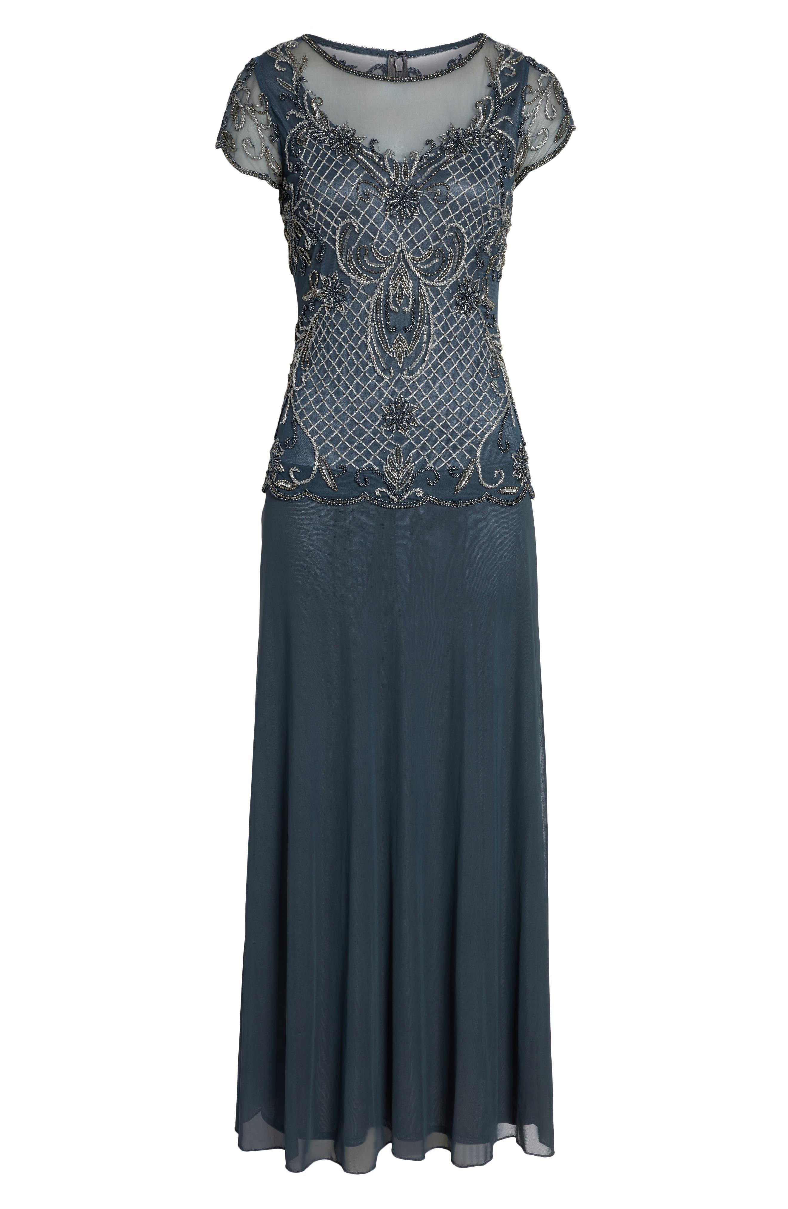 Mock Two-Piece Beaded Bodice Evening Dress,                             Alternate thumbnail 7, color,                             SLATE