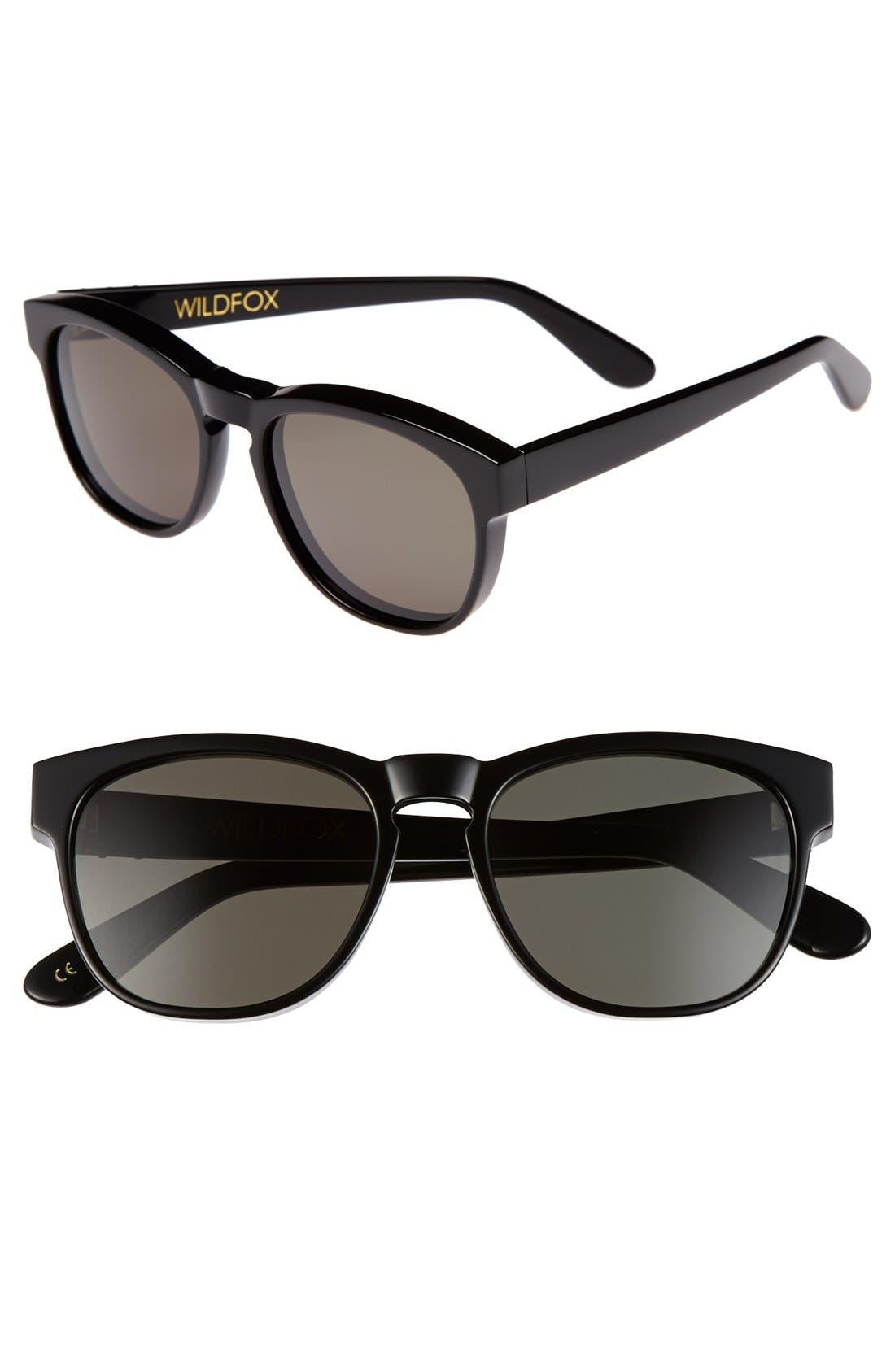 'Classic Fox 2' 52mm Sunglasses,                         Main,                         color, 001