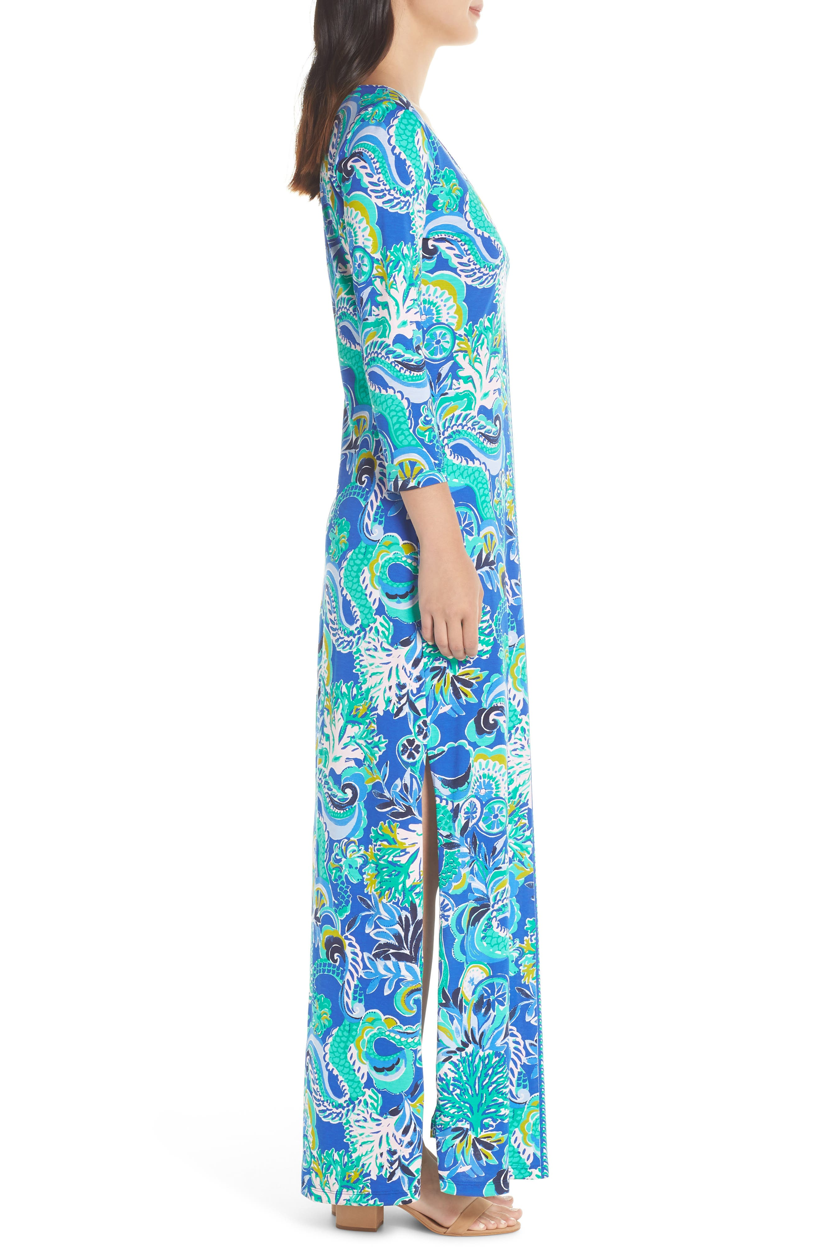 Anissa Maxi Dress,                             Alternate thumbnail 3, color,                             BLUE GROTTO SIRENS AND SPIRITS