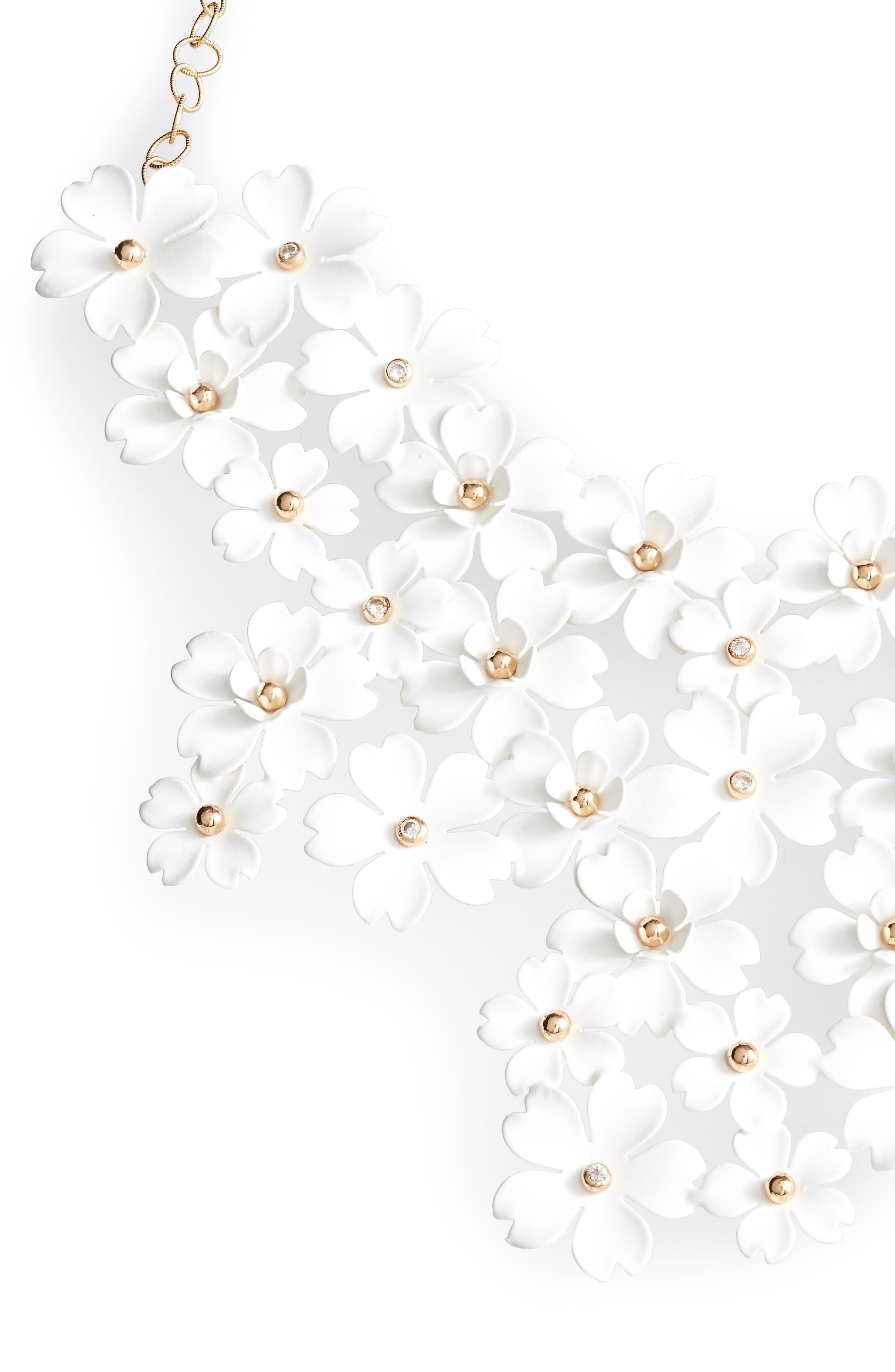 SEREFINA Cherry Blossom Statement Necklace in White