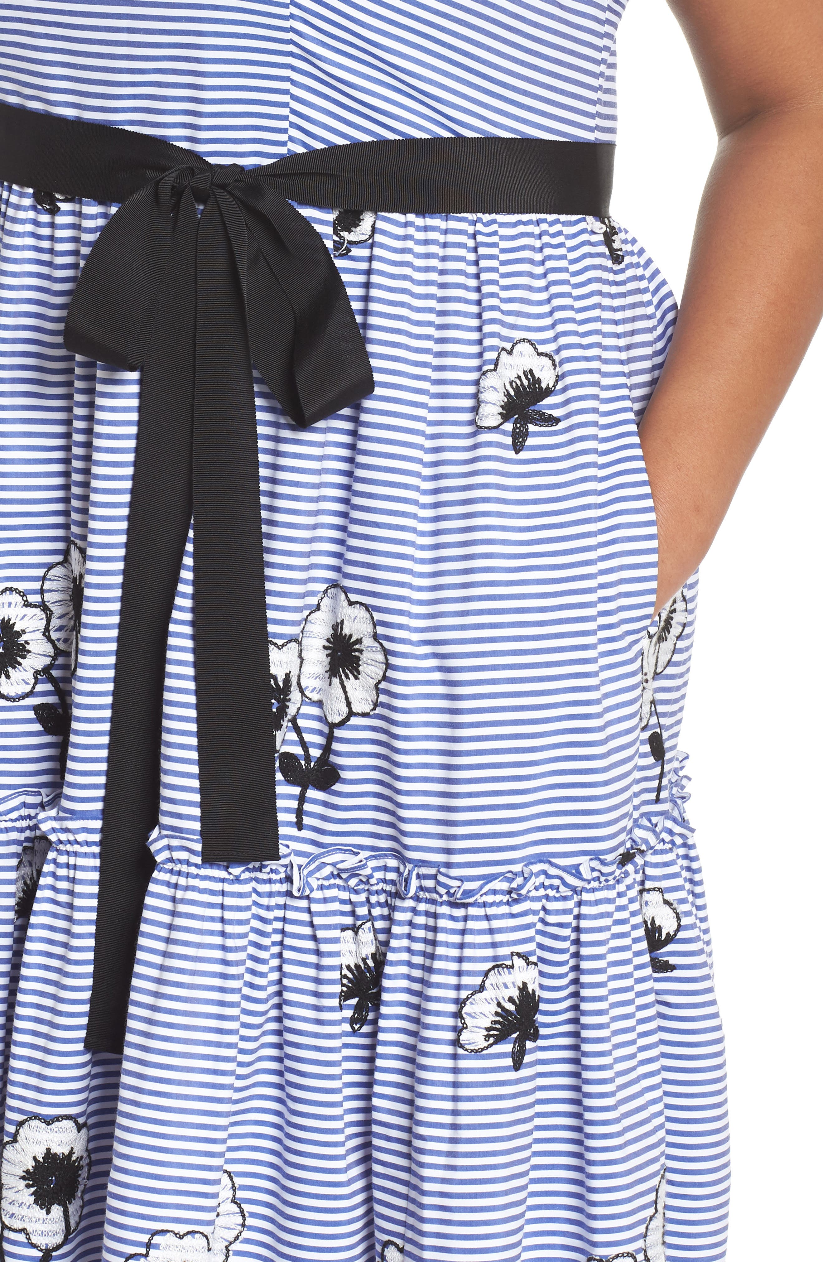 Embroidered Stripe Fit & Flare Dress,                             Alternate thumbnail 4, color,
