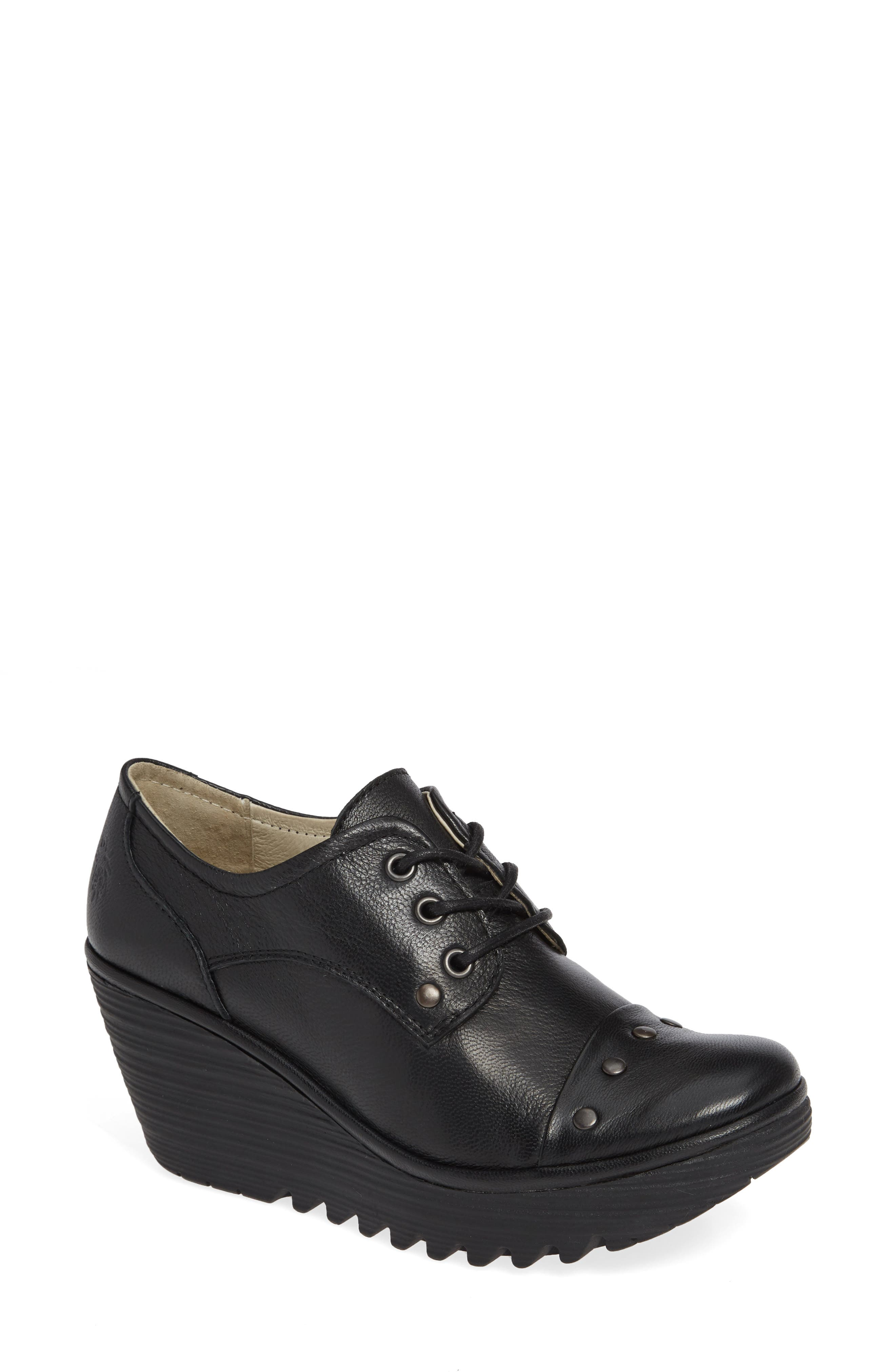 Yoti Lace-Up Wedge,                         Main,                         color, BLACK