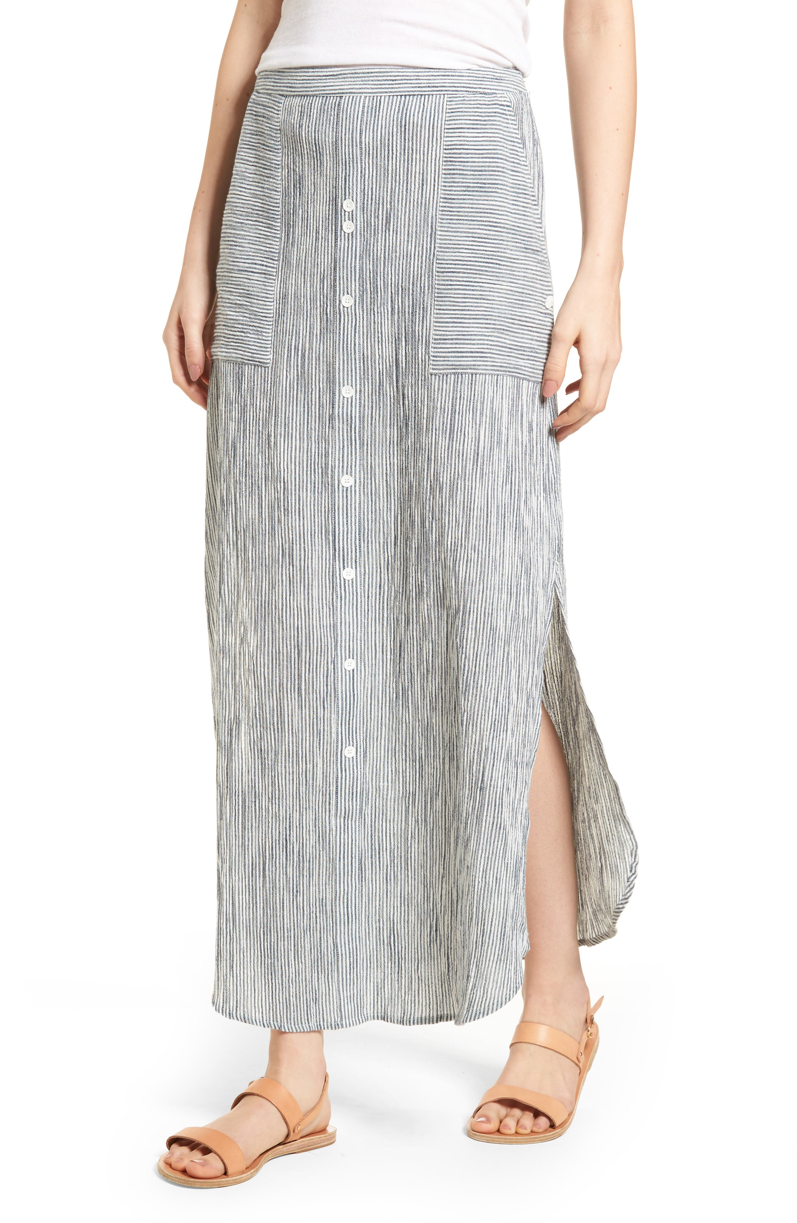 Sunset Islands Pinstripe Maxi Skirt,                         Main,                         color, 101