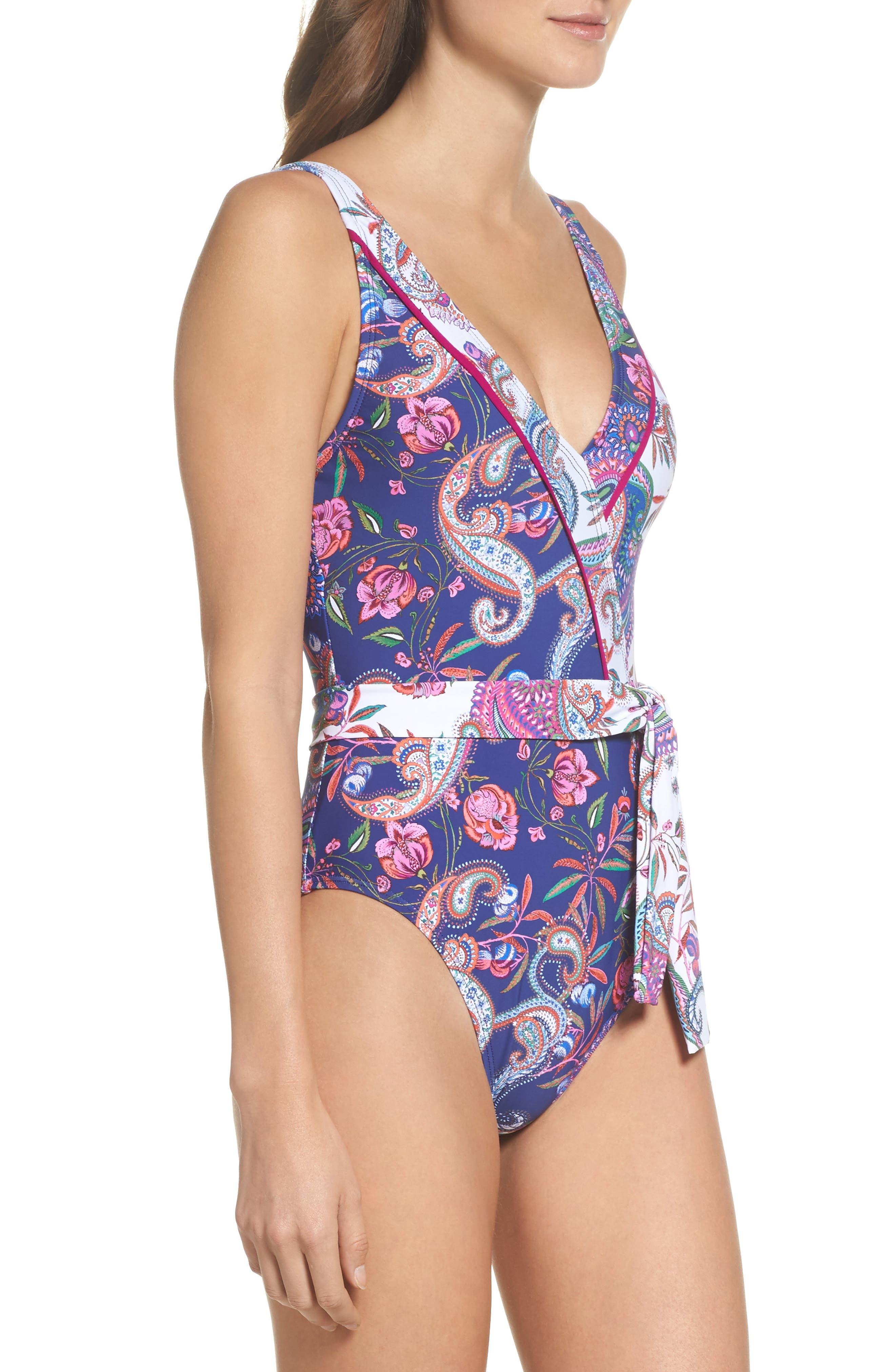 Scarf Print Surplice One-Piece Swimsuit,                             Alternate thumbnail 3, color,                             400