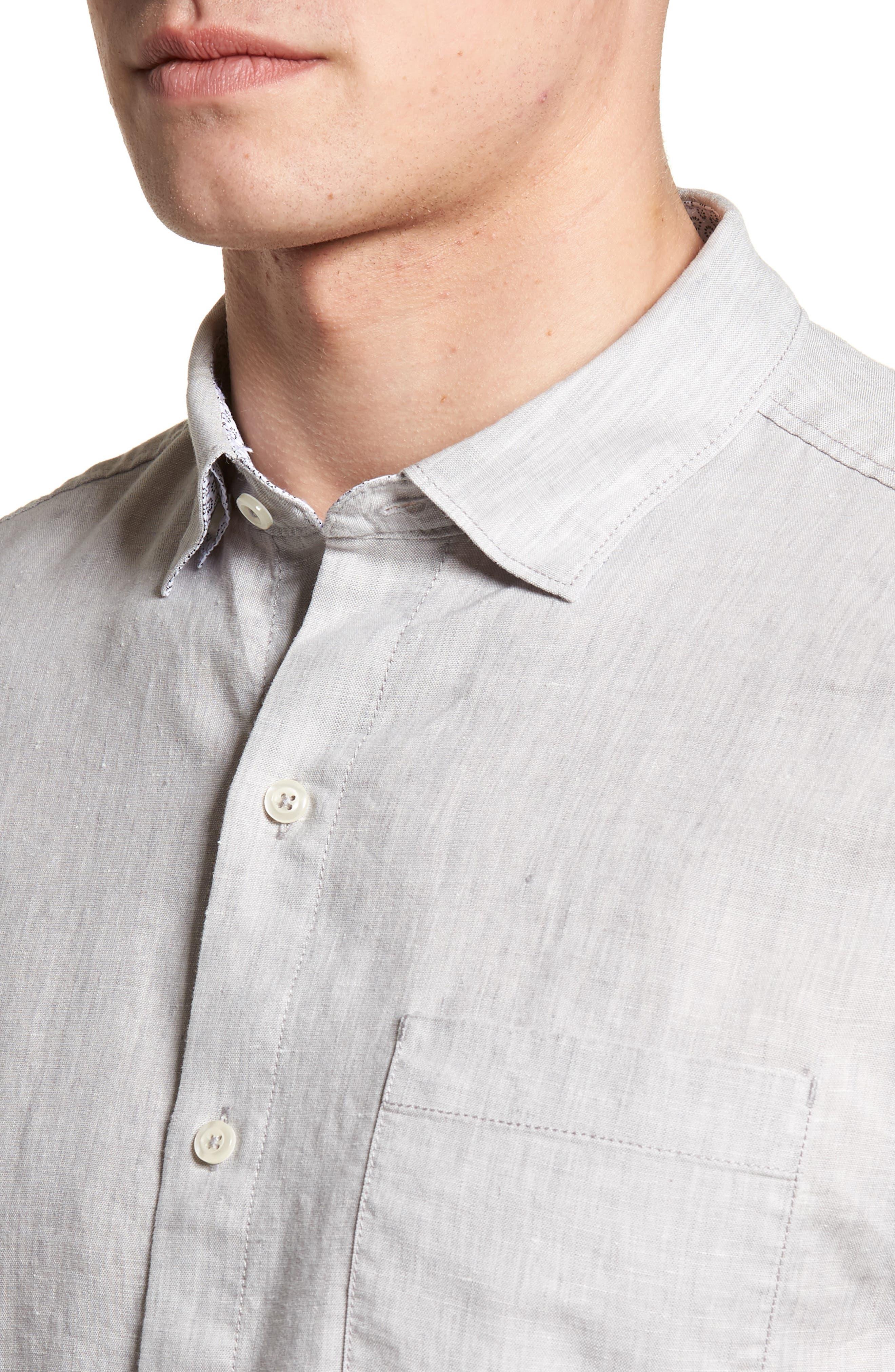 Lanai Tides Linen Blend Sport Shirt,                             Alternate thumbnail 4, color,                             020