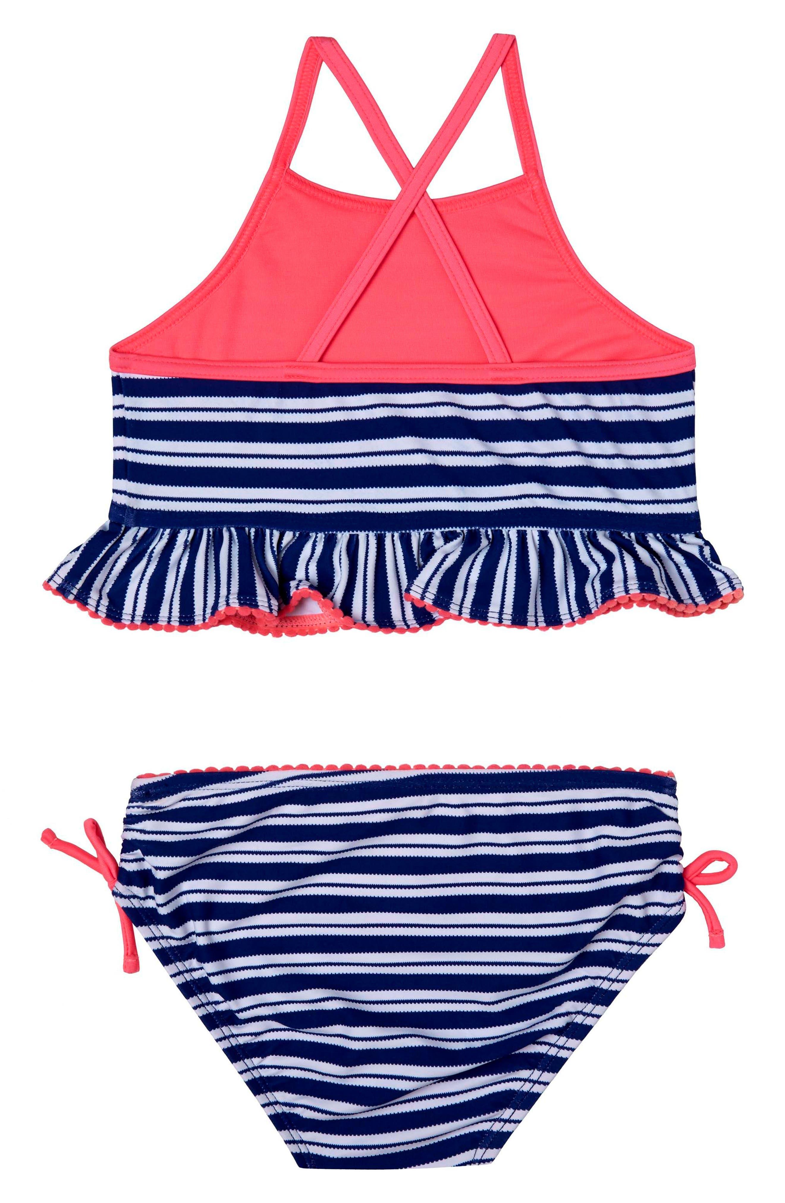 Retro StripeTwo-Piece Swimsuit,                             Main thumbnail 1, color,                             976