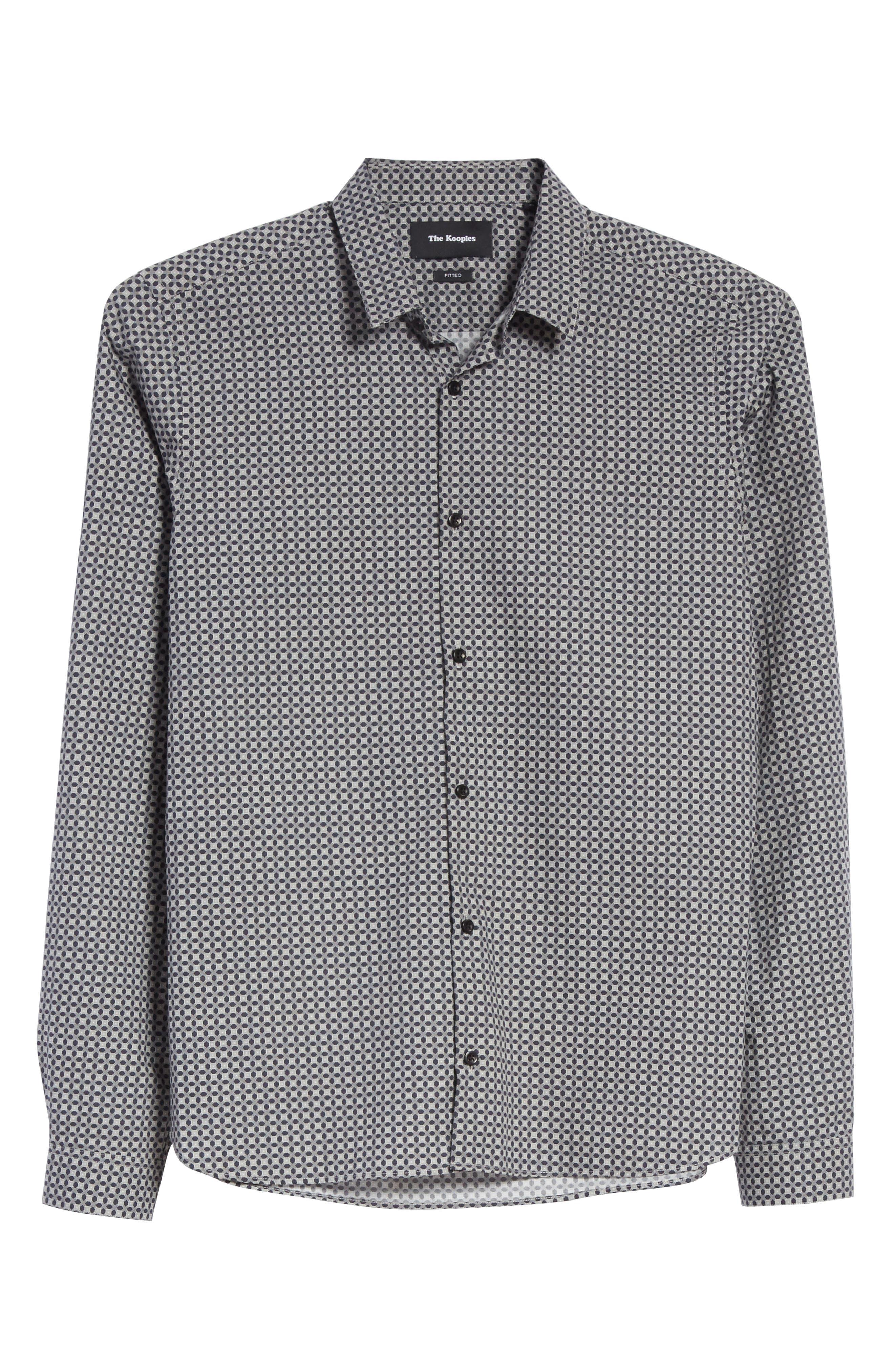Geometric Print Woven Shirt,                             Alternate thumbnail 6, color,                             020