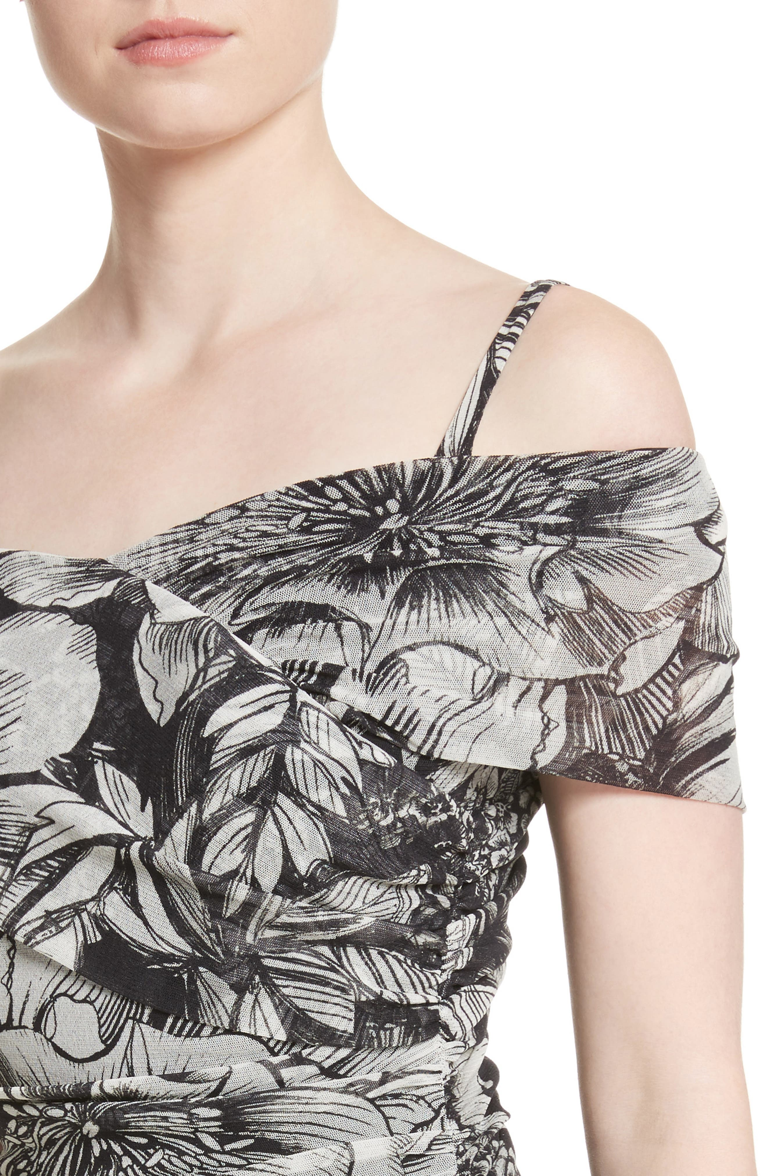 Print Tulle Ruched Off the Shoulder Dress,                             Alternate thumbnail 4, color,                             001