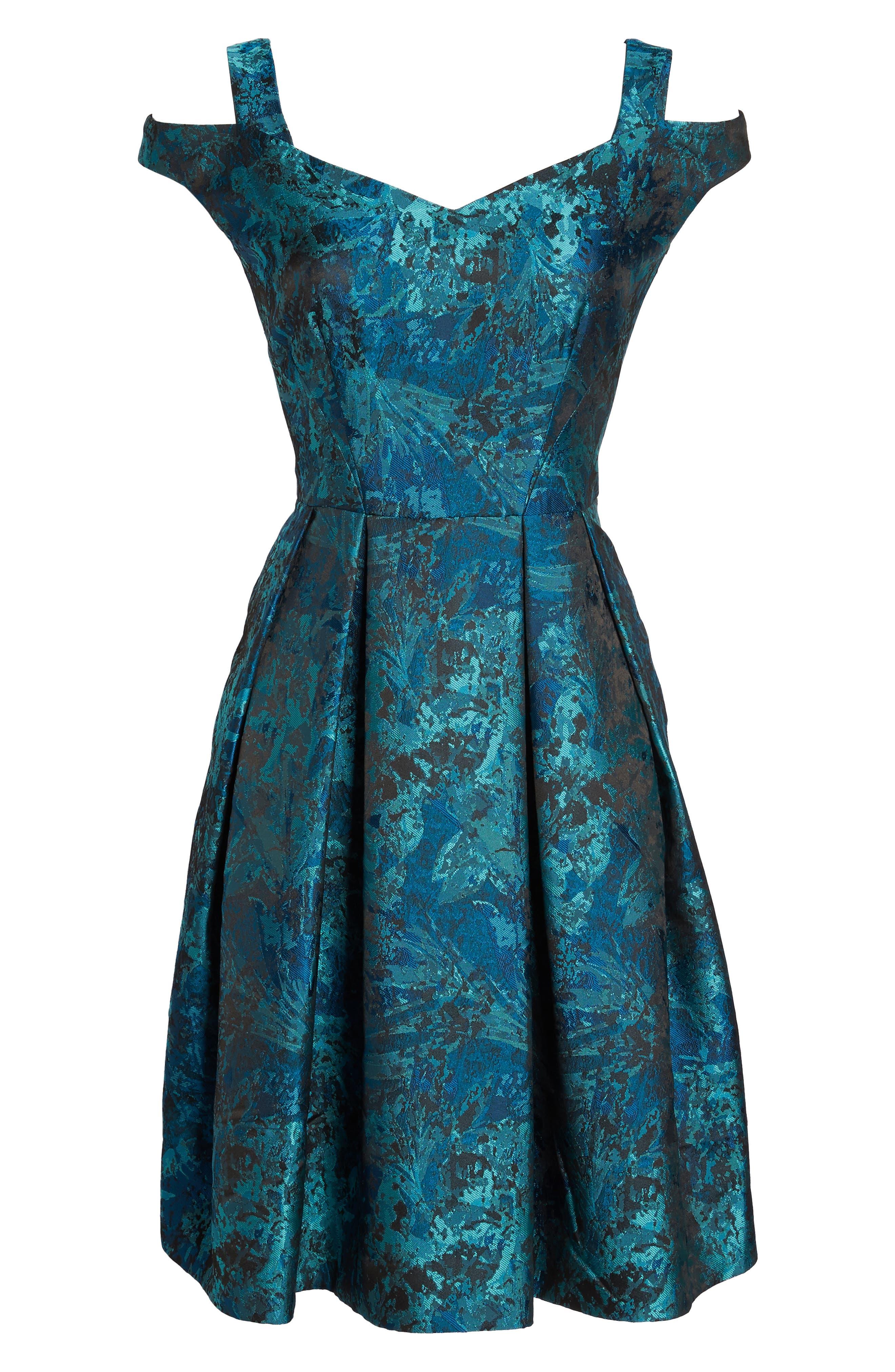Cold Shoulder Brocade Dress,                             Alternate thumbnail 6, color,                             441