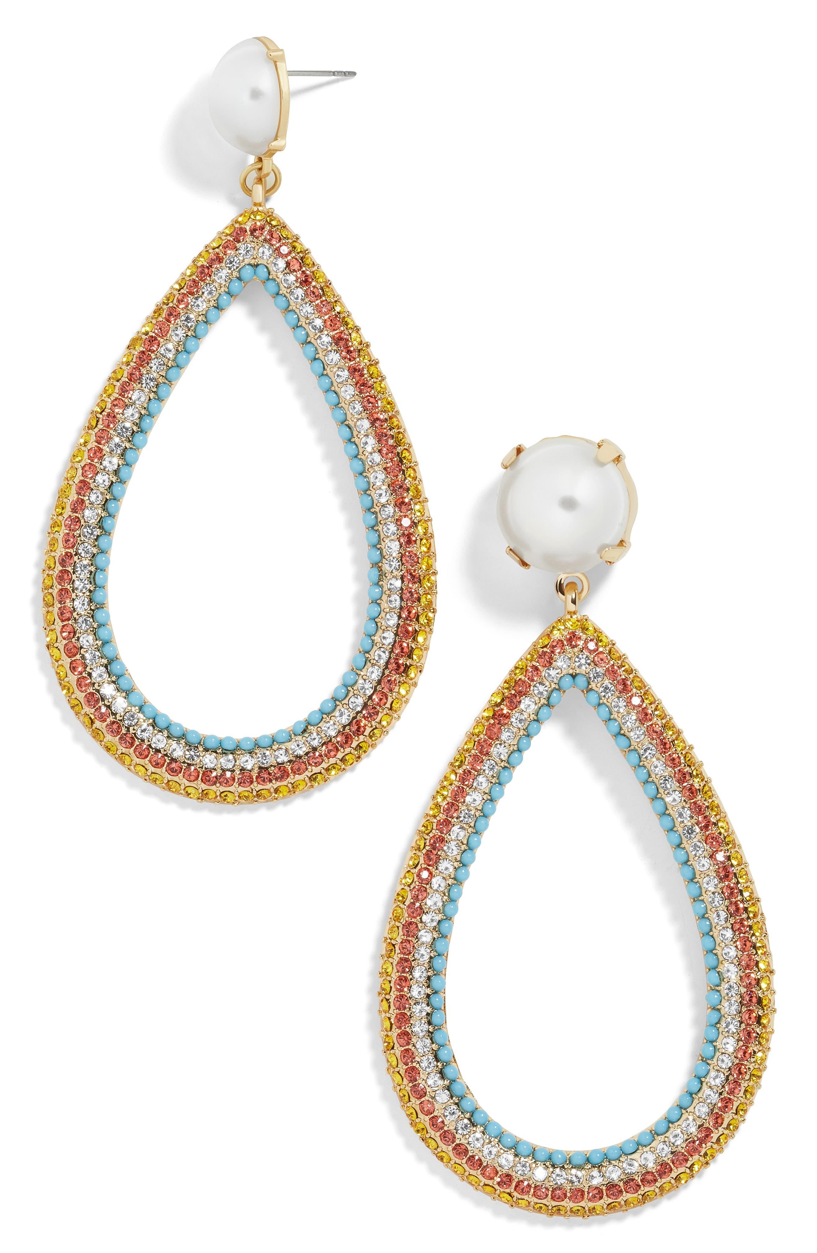 x Micaela Erlanger Ladies Who Lunch Teardrop Earrings,                             Main thumbnail 1, color,                             MULTI/ GOLD
