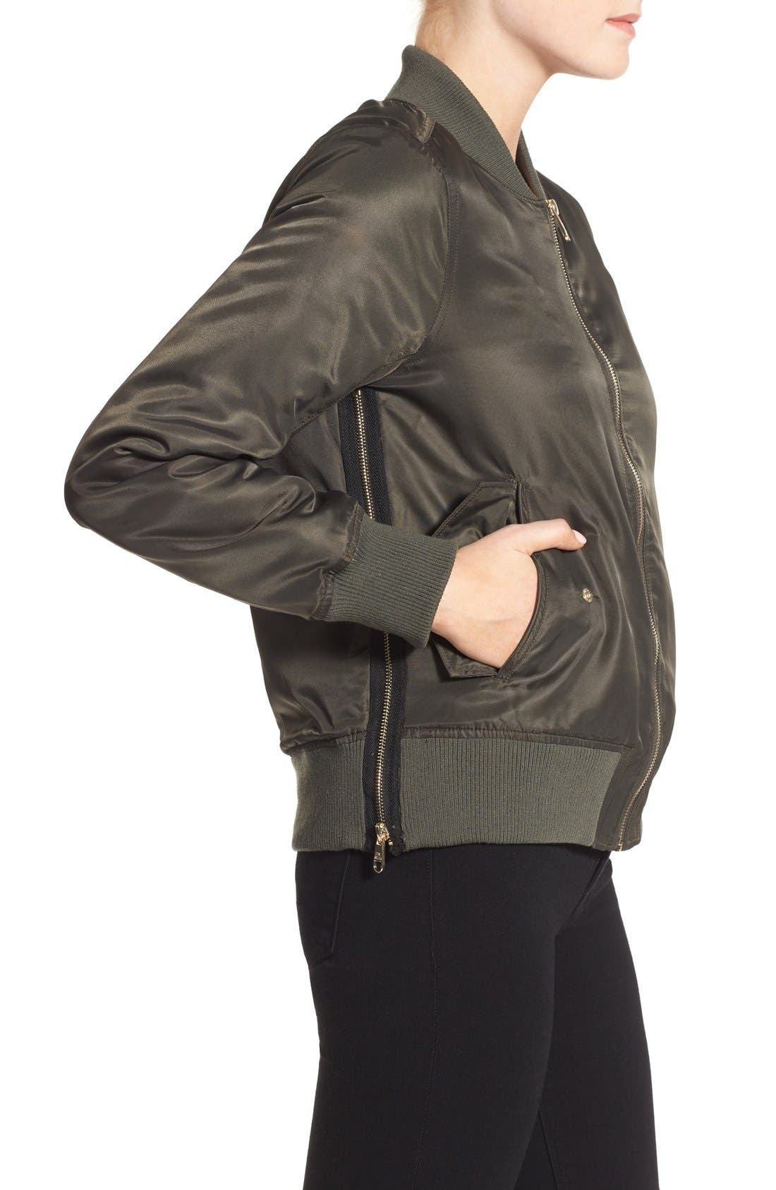 Side Zip Bomber Jacket,                             Alternate thumbnail 32, color,