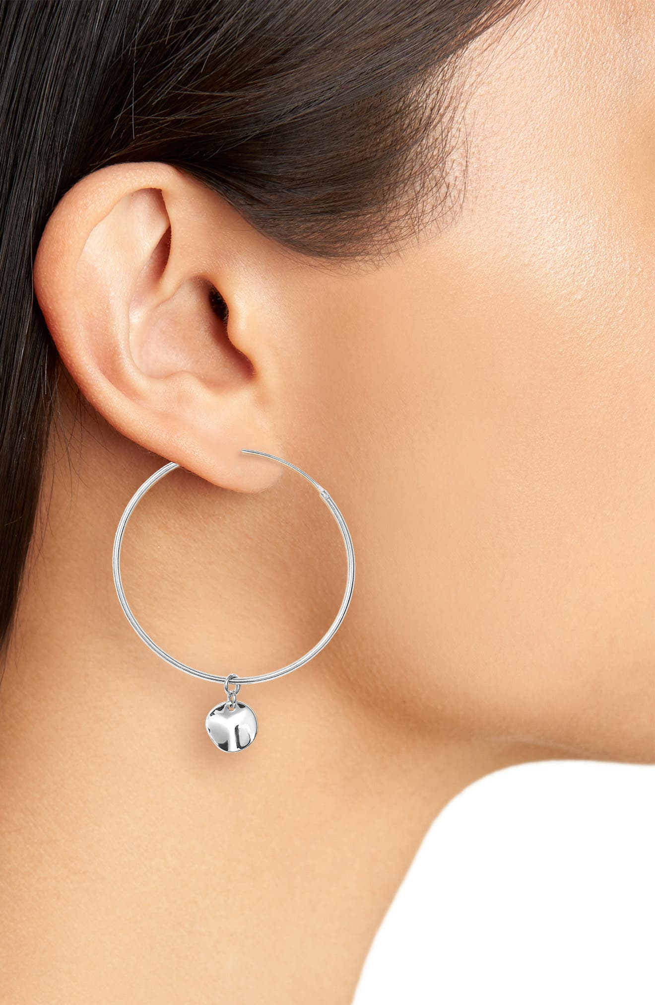 Flat Disc Drop Large Hoop Earrings,                             Alternate thumbnail 2, color,                             SILVER