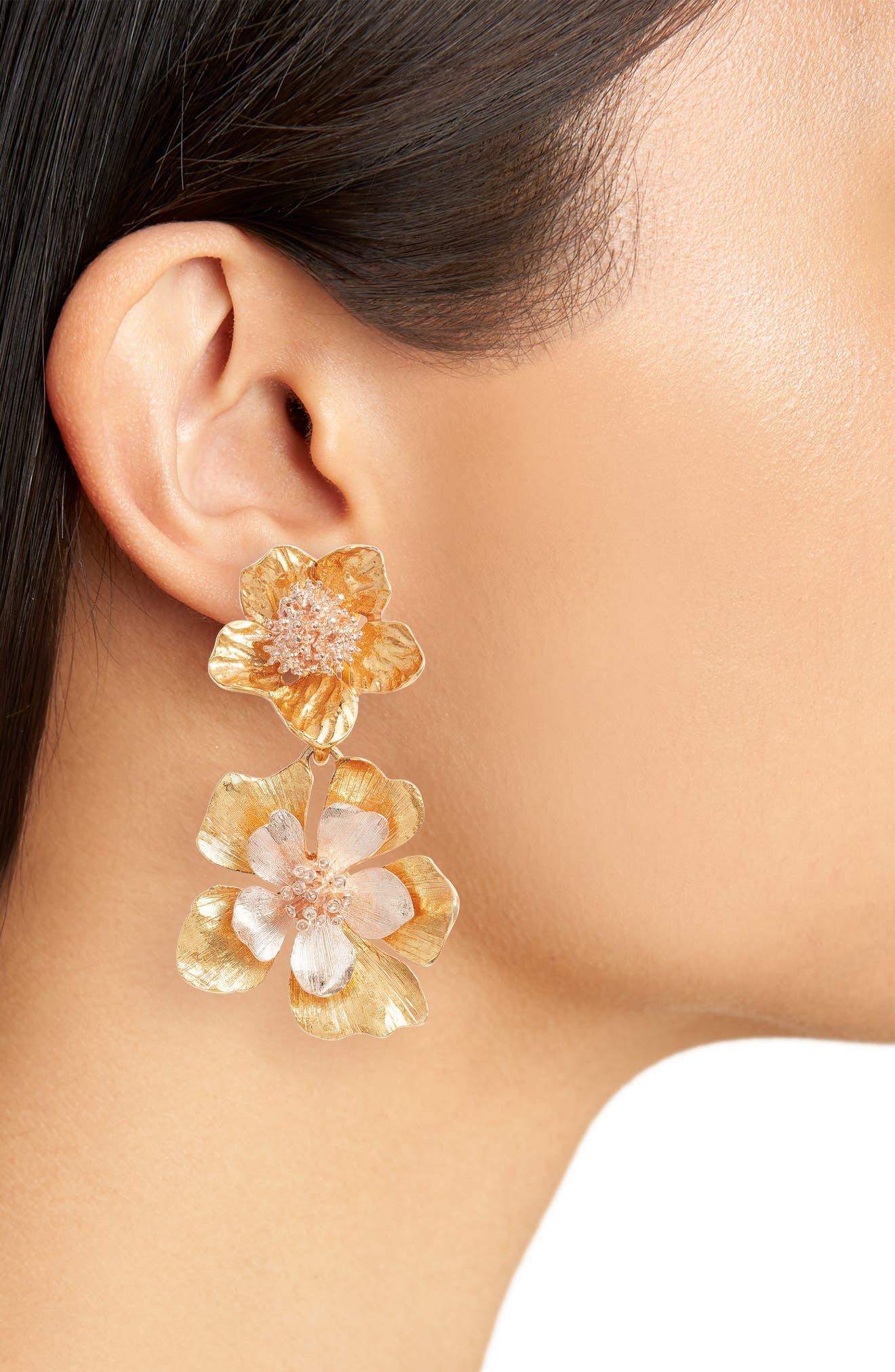Floral Drop Clip Earrings,                             Alternate thumbnail 2, color,                             710