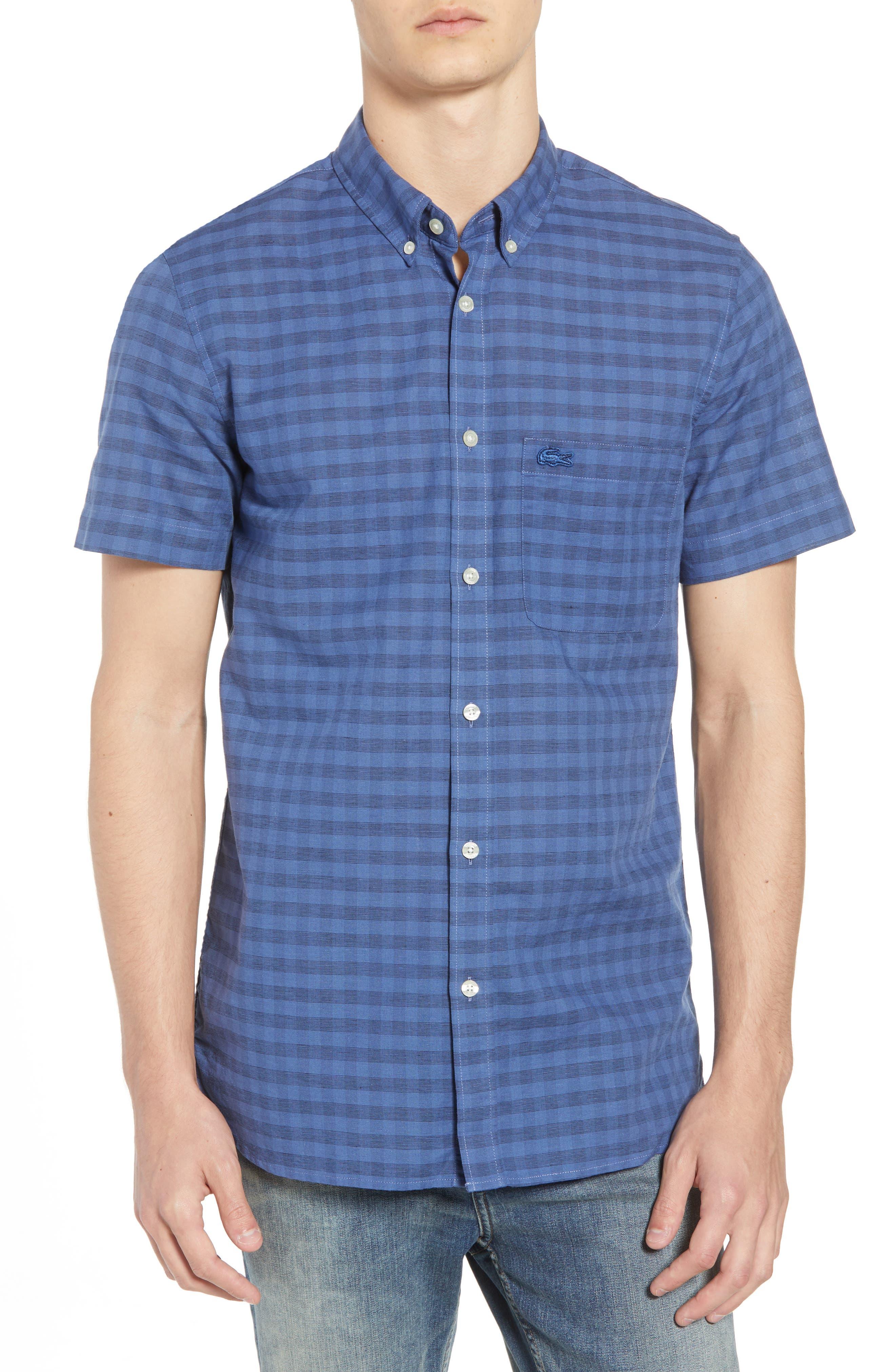 Slim Fit Check Cotton & Linen Sport Shirt,                             Main thumbnail 1, color,                             MARINO