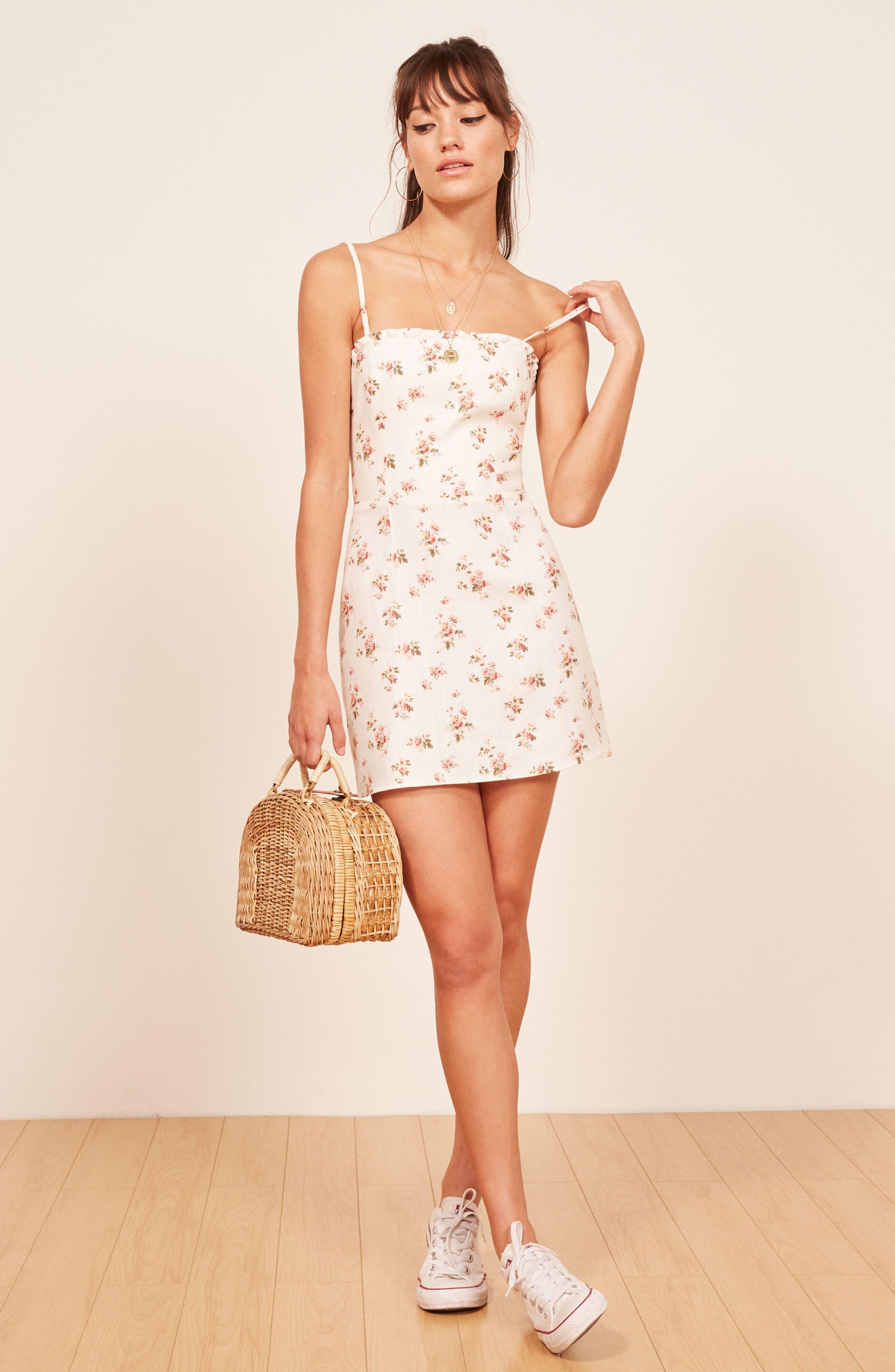 Ava Ruffle Linen Minidress,                             Alternate thumbnail 6, color,                             100