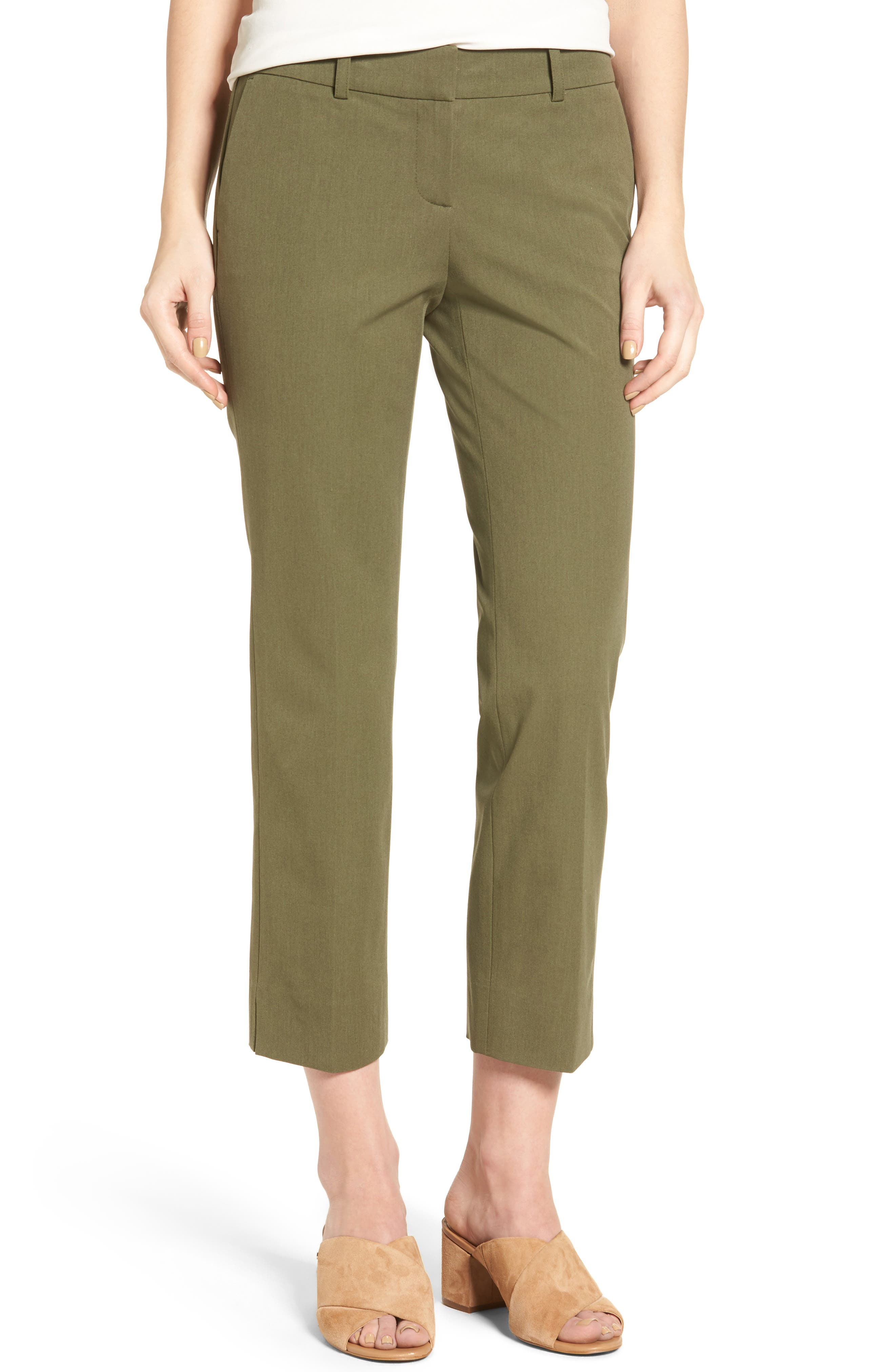 Crop Stretch Cotton Pants,                             Main thumbnail 11, color,