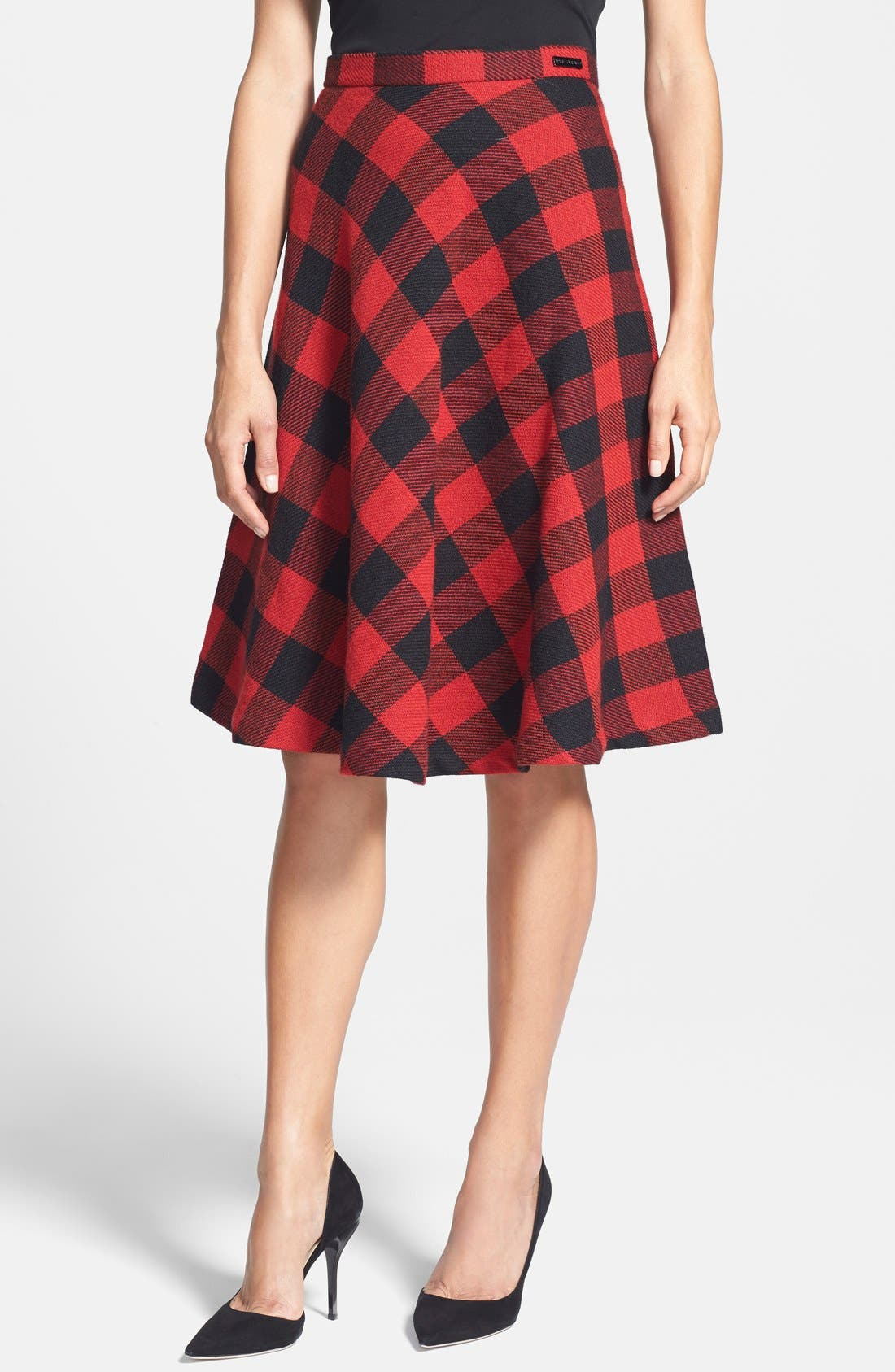 PINK TARTAN,                             Buffalo Plaid Circle Skirt,                             Main thumbnail 1, color,                             001