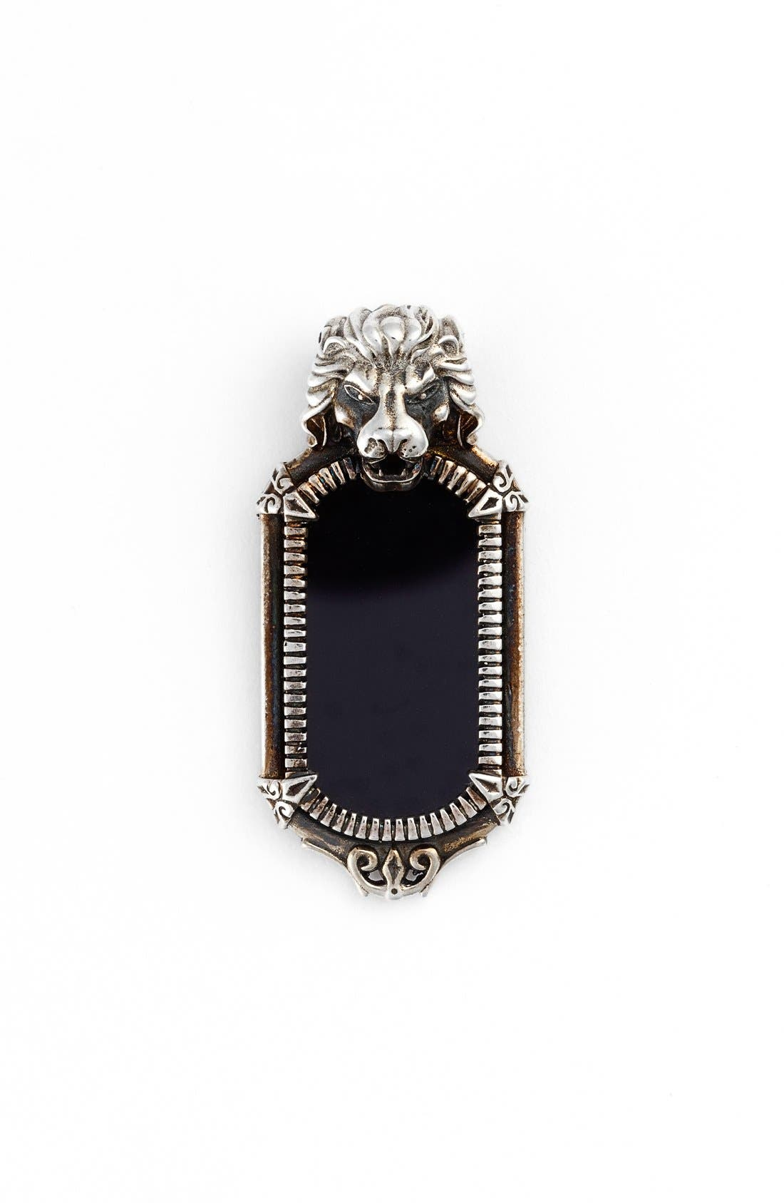 'Minos' Carved Pendant,                             Main thumbnail 1, color,                             SILVER/ BLACK ONYX LION
