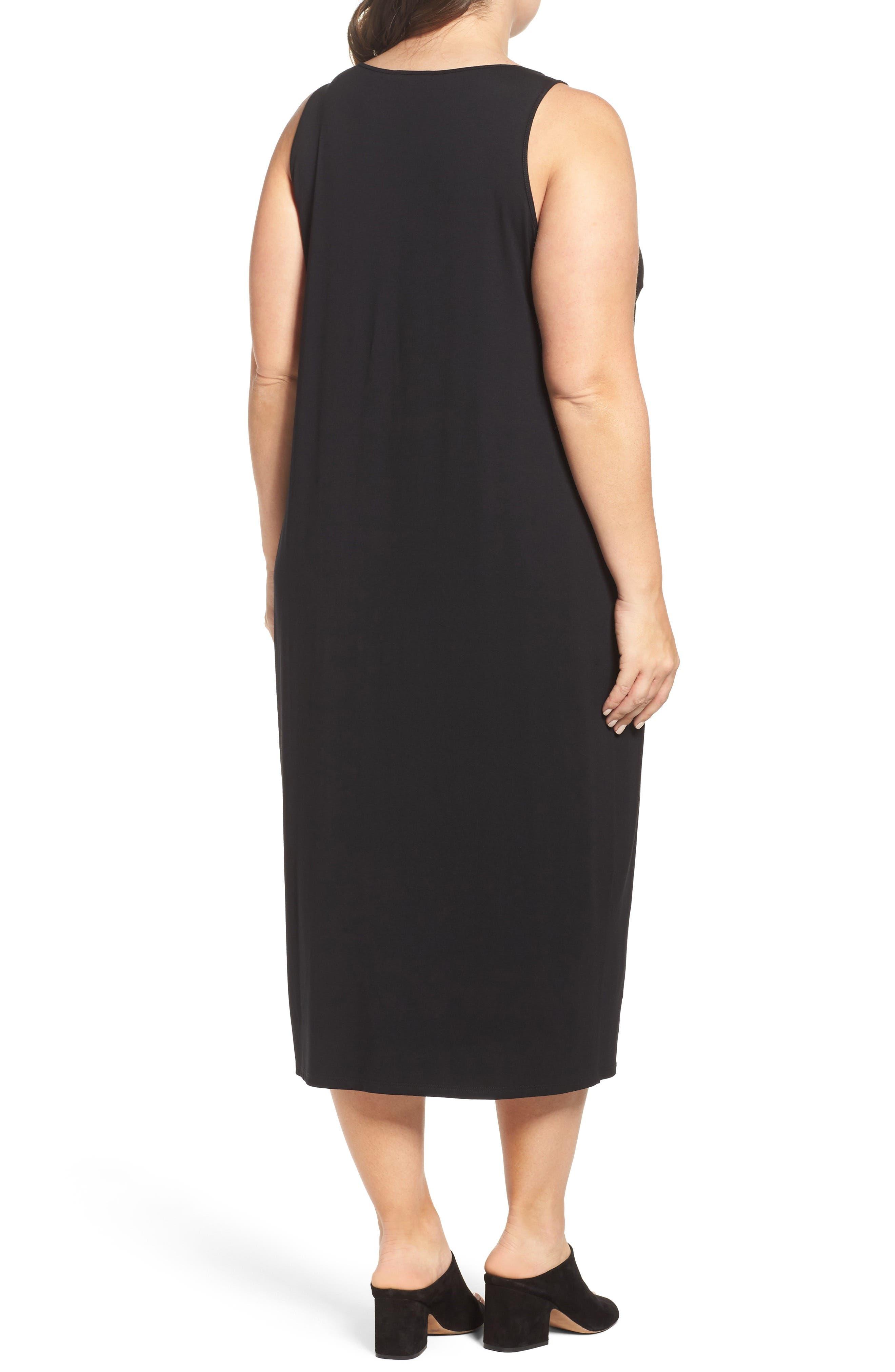 Jersey Midi Dress,                             Alternate thumbnail 2, color,                             BLACK