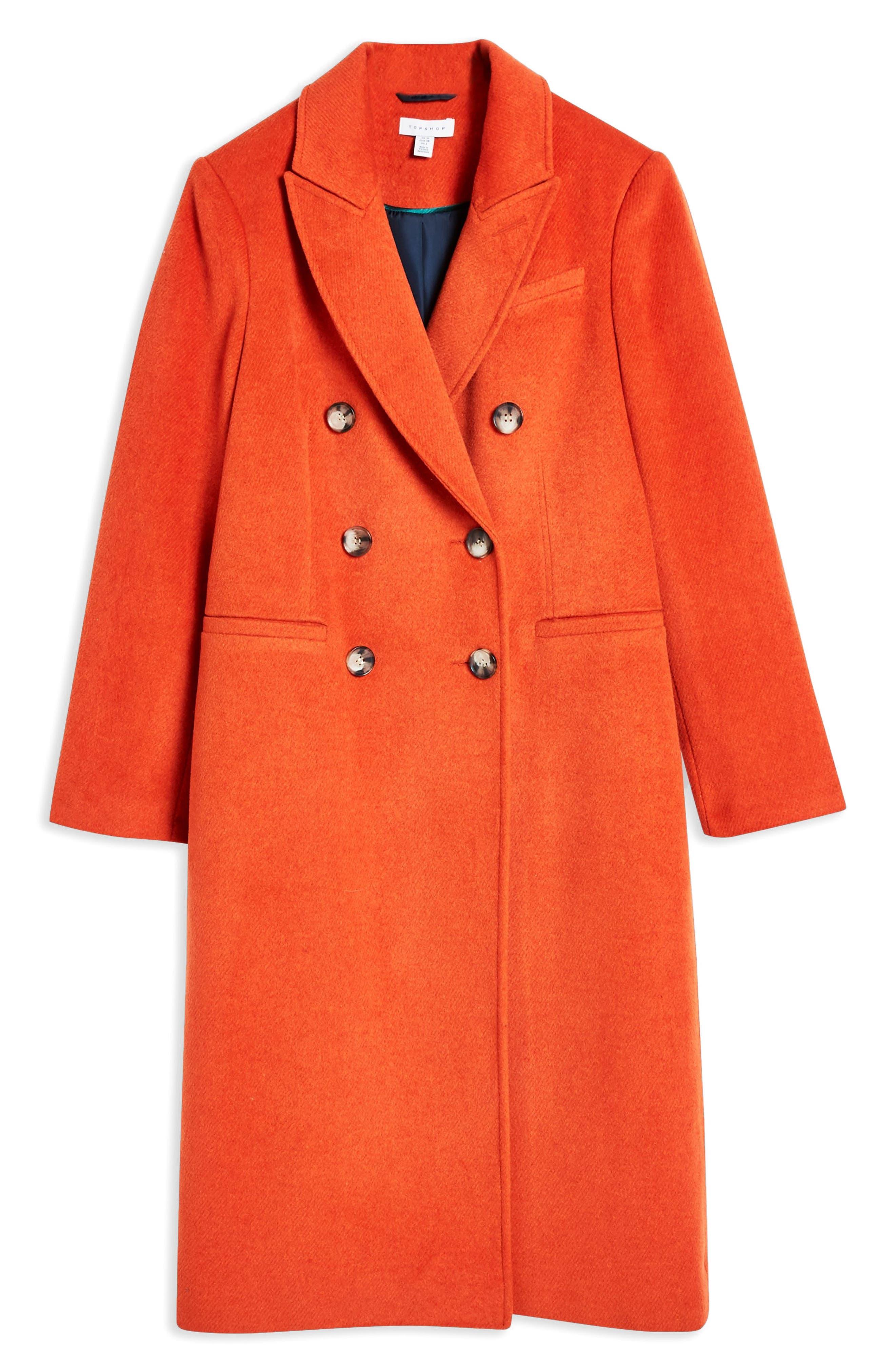 Brushed Long Coat,                             Alternate thumbnail 4, color,                             RUST