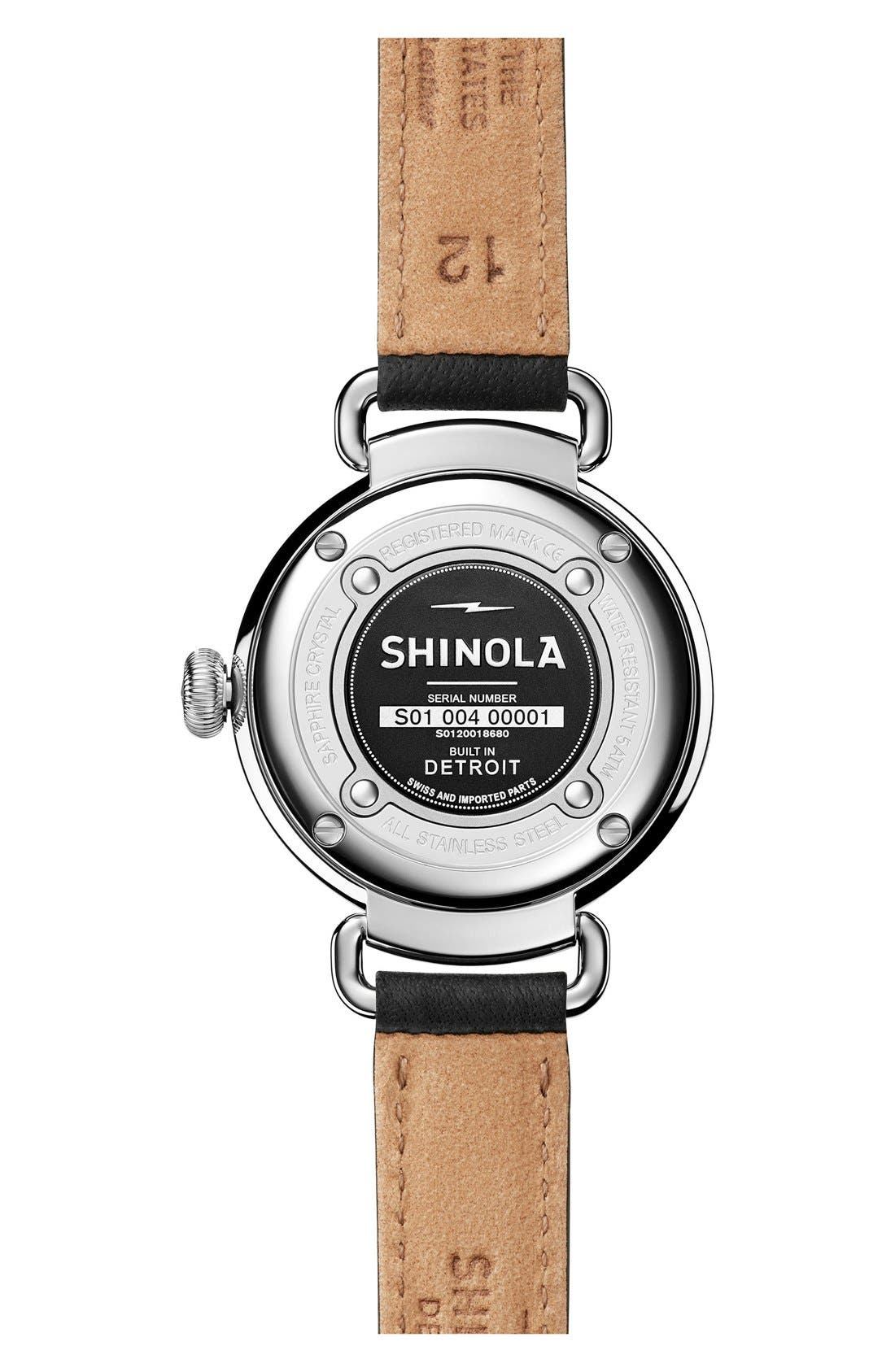 Canfield Leather Strap Watch, 32mm,                             Alternate thumbnail 2, color,                             BLACK/ WHITE MOTHER OF PEARL