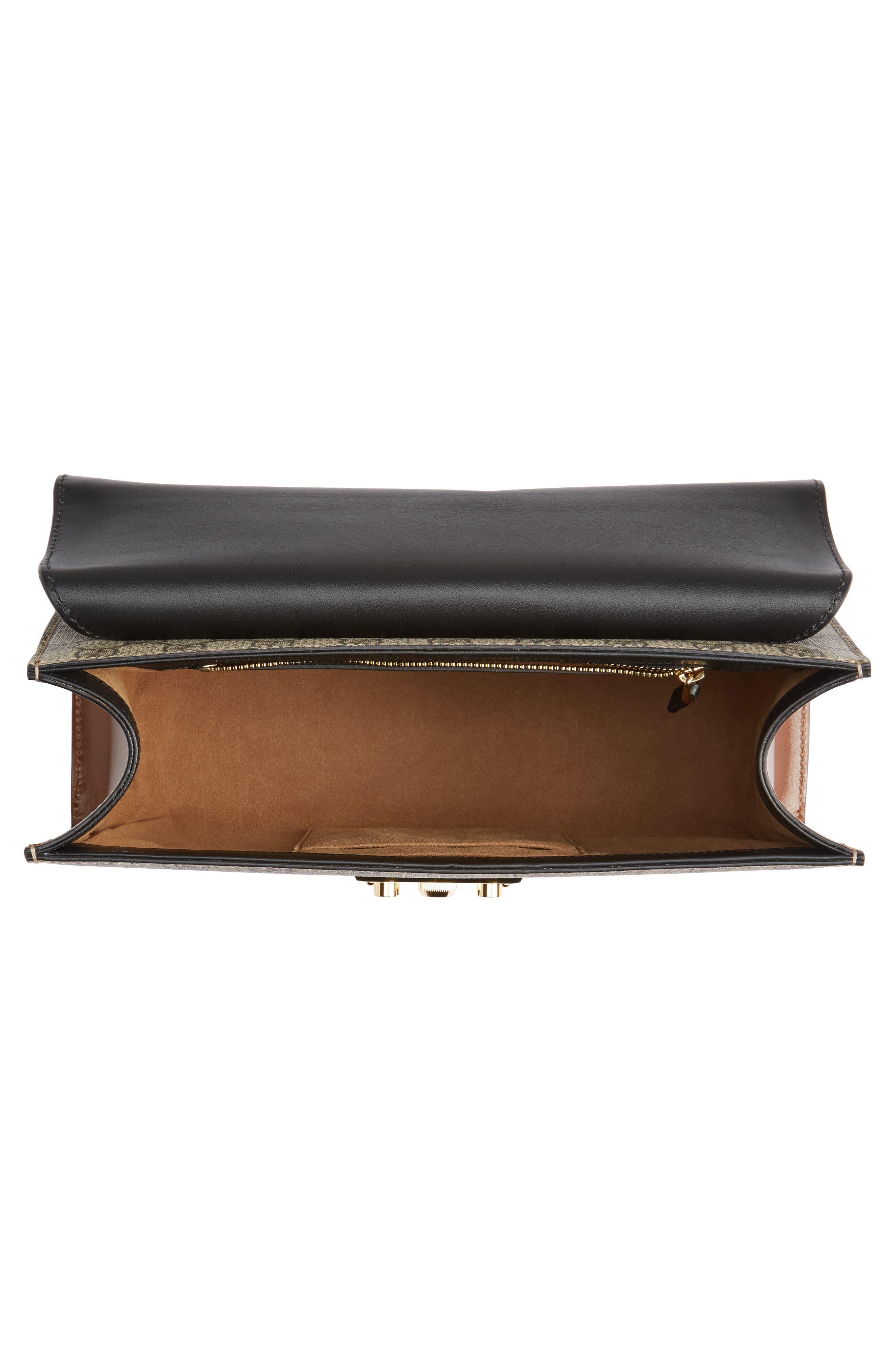 Medium Padlock Leather Shoulder Bag,                             Alternate thumbnail 4, color,                             MOON/ TOSCANO