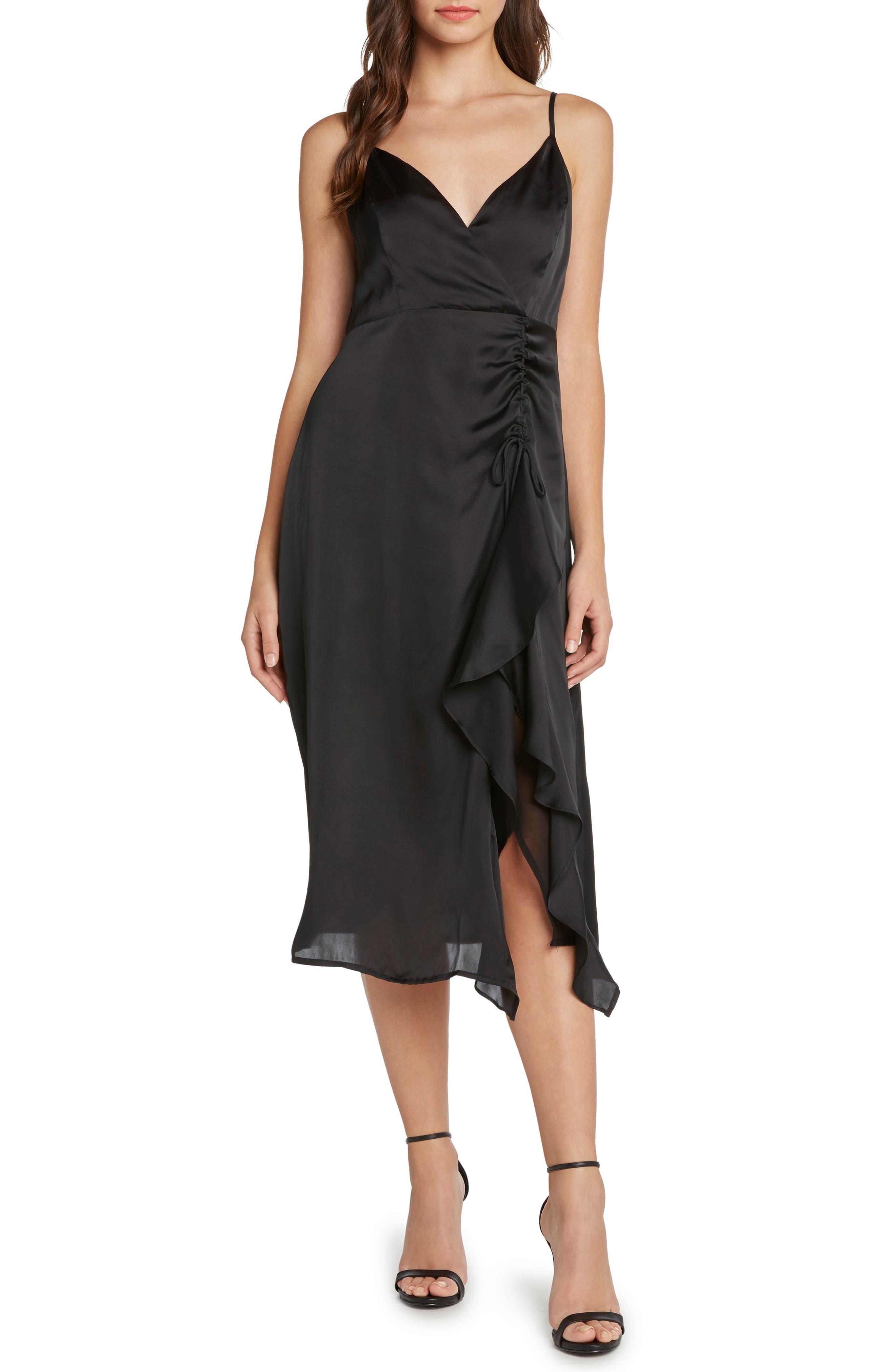 Ruched Satin Midi Dress,                             Main thumbnail 1, color,                             001