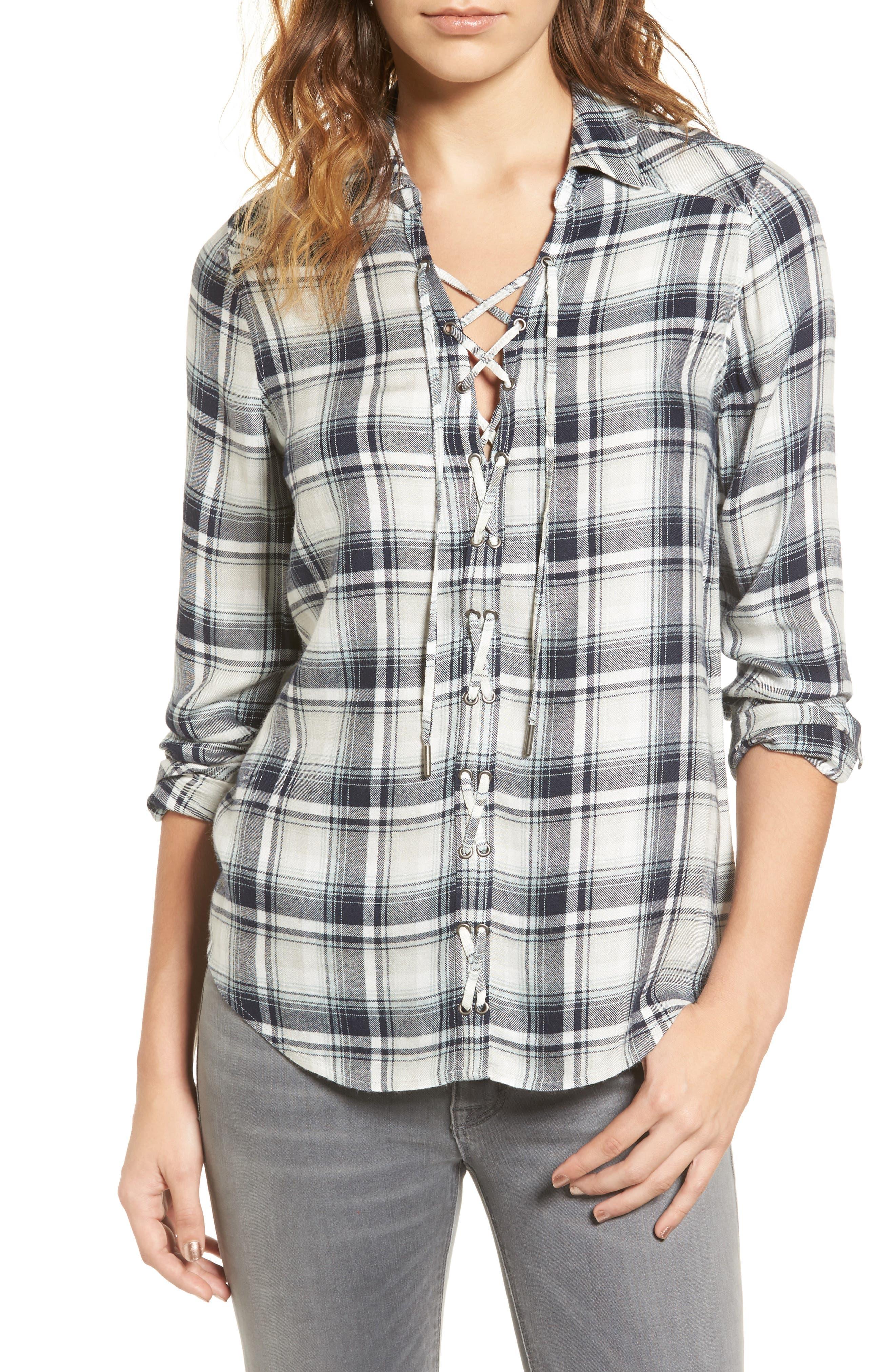 Clea Plaid Shirt,                         Main,                         color, 406