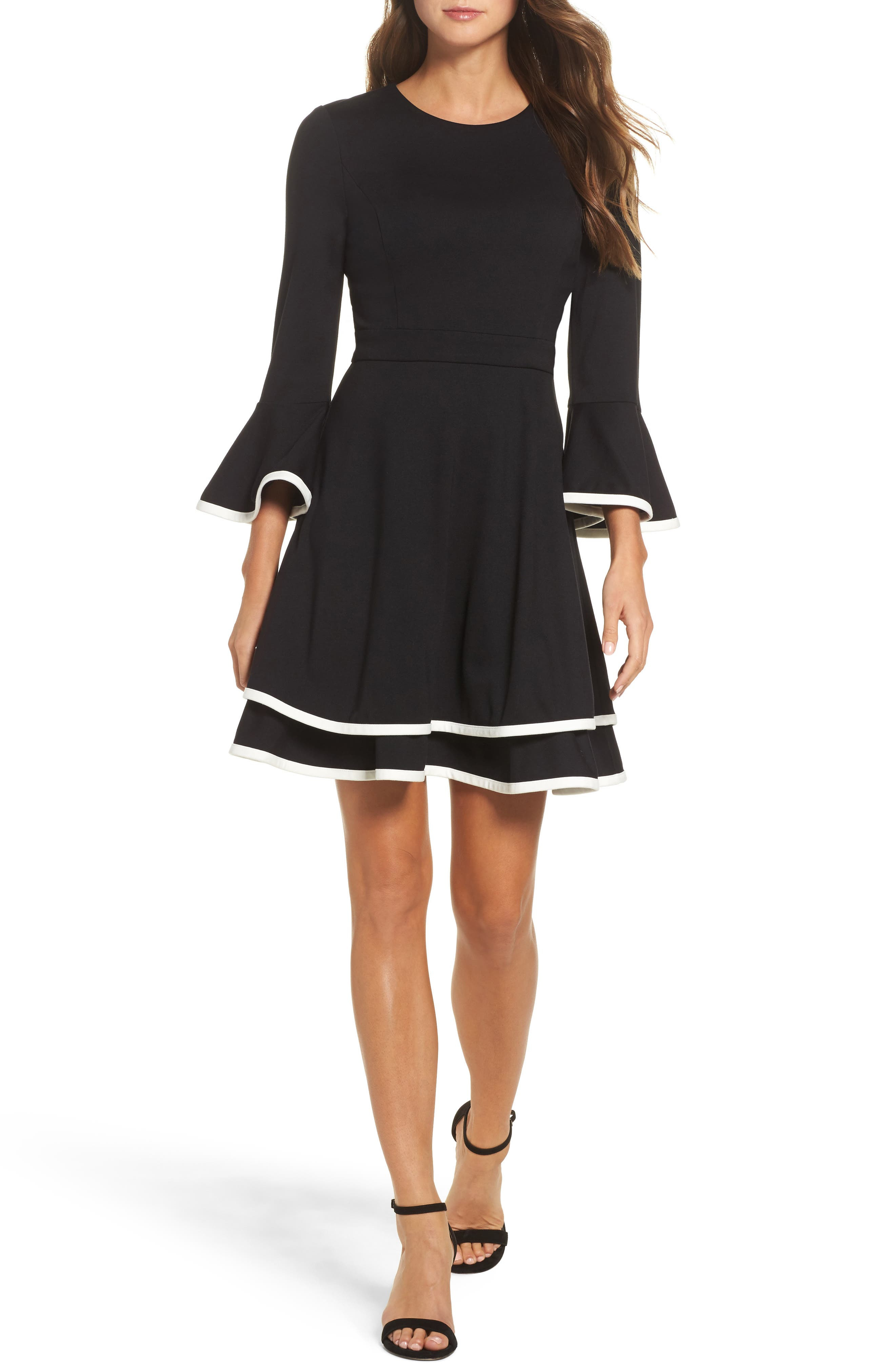Bell Sleeve Fit & Flare Dress,                         Main,                         color, BLACK/ IVORY