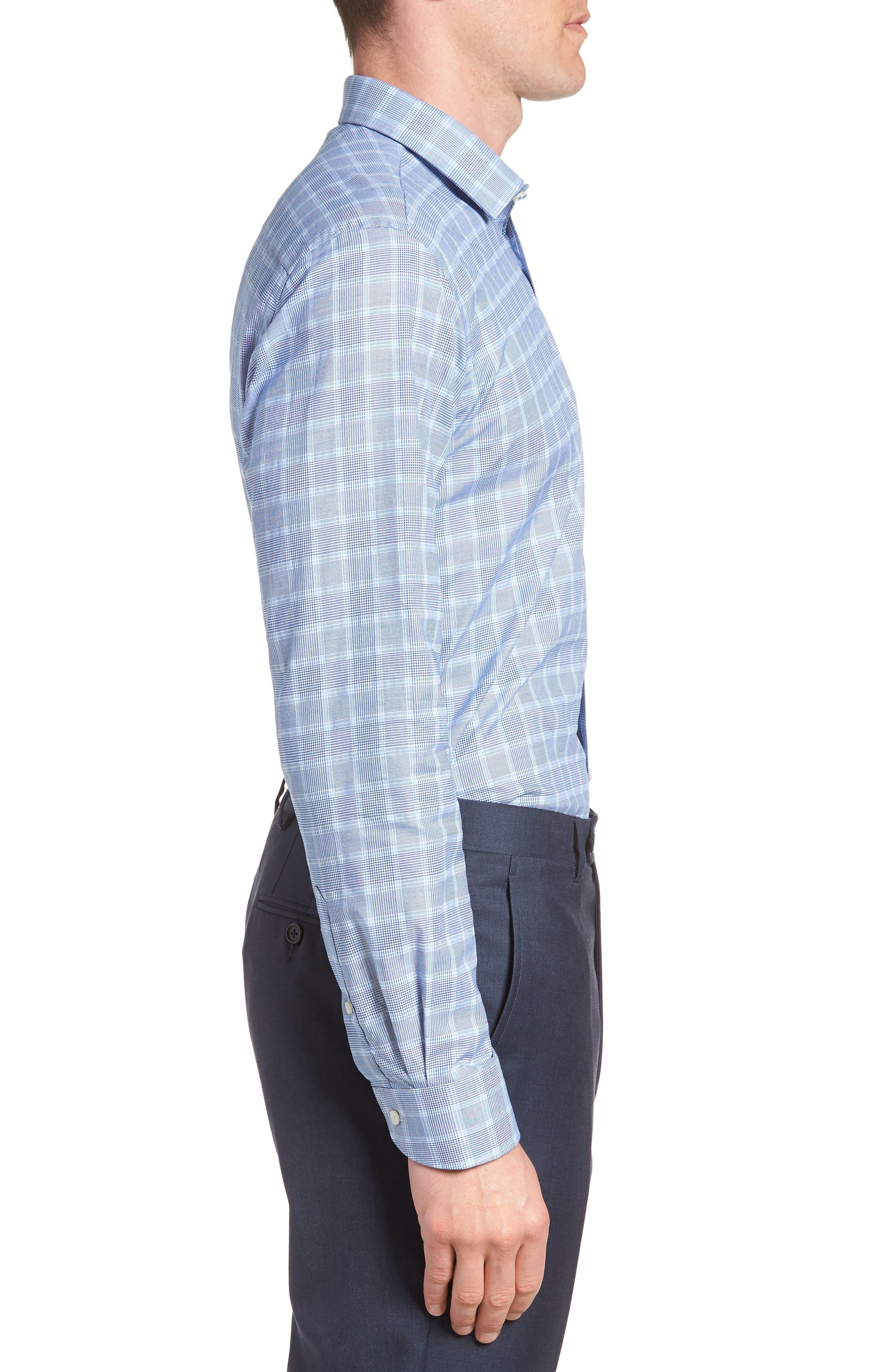 Royaltt Trim Fit Plaid Dress Shirt,                             Alternate thumbnail 4, color,                             NAVY