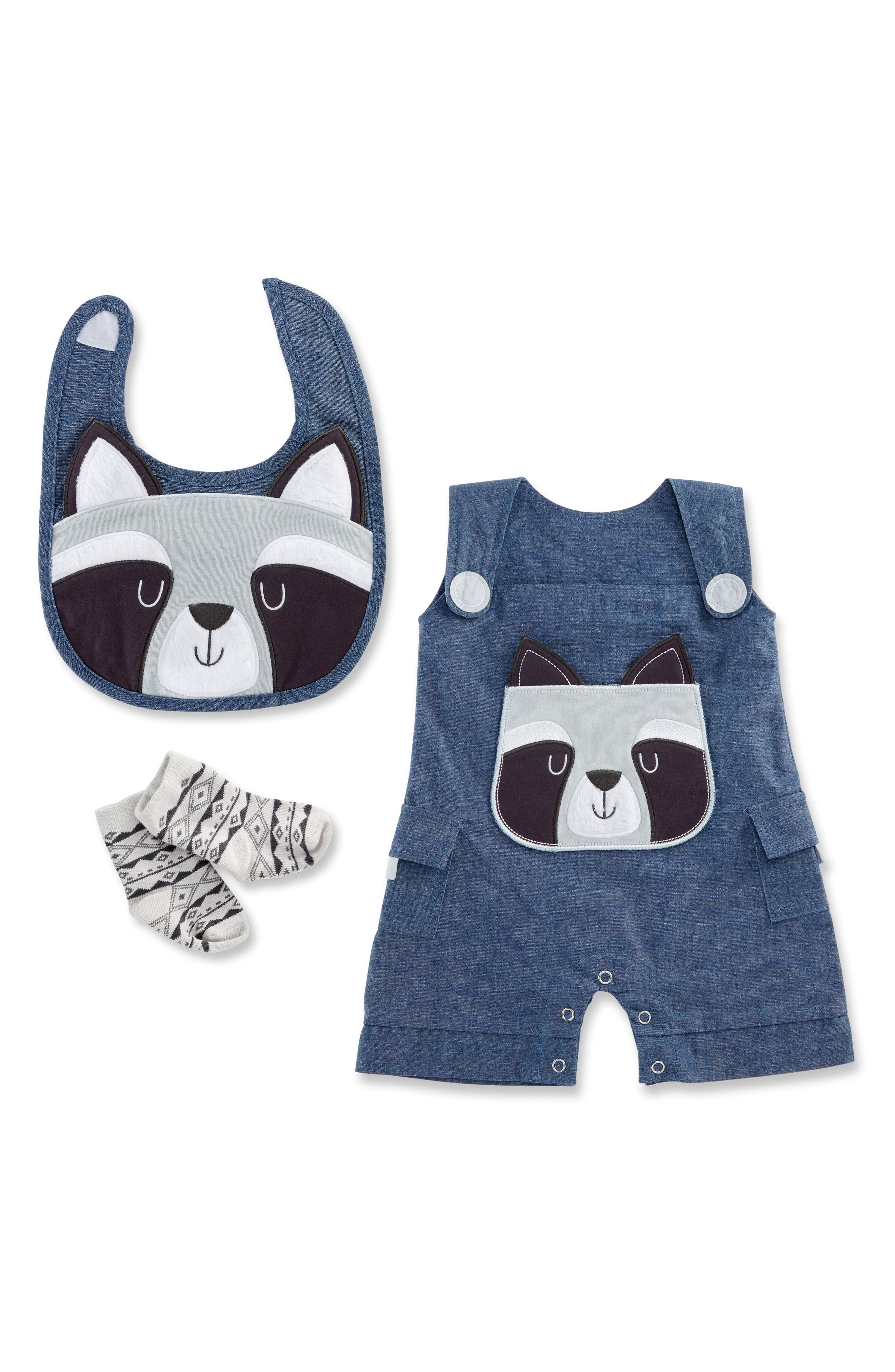 Forest Friends Raccoon Romper, Bib & Socks Set,                             Main thumbnail 1, color,                             GREY/ BLUE AND WHITE