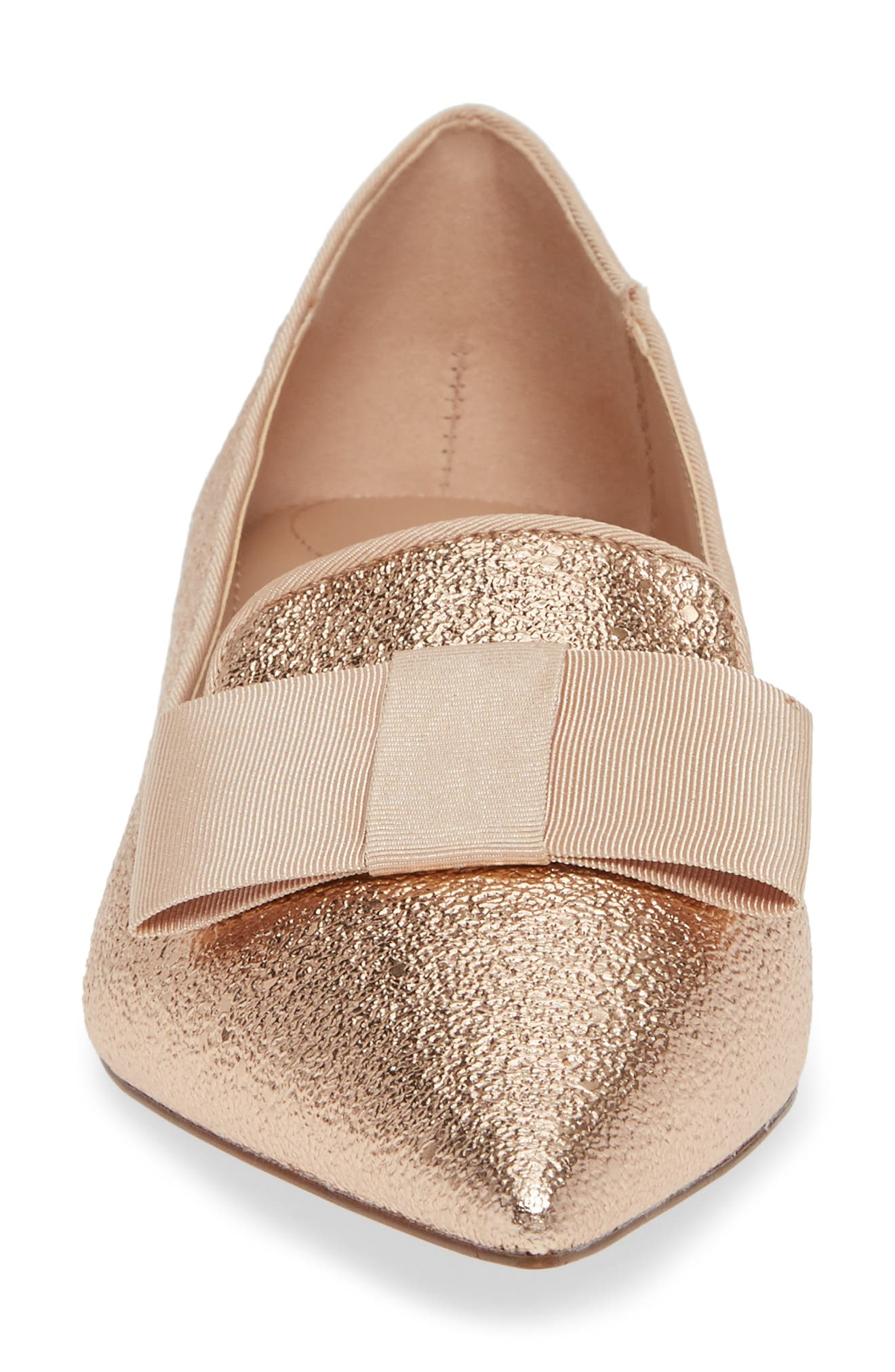 Madeleine Pointy Toe Flat,                             Alternate thumbnail 4, color,                             LIGHT GOLD METALLIC