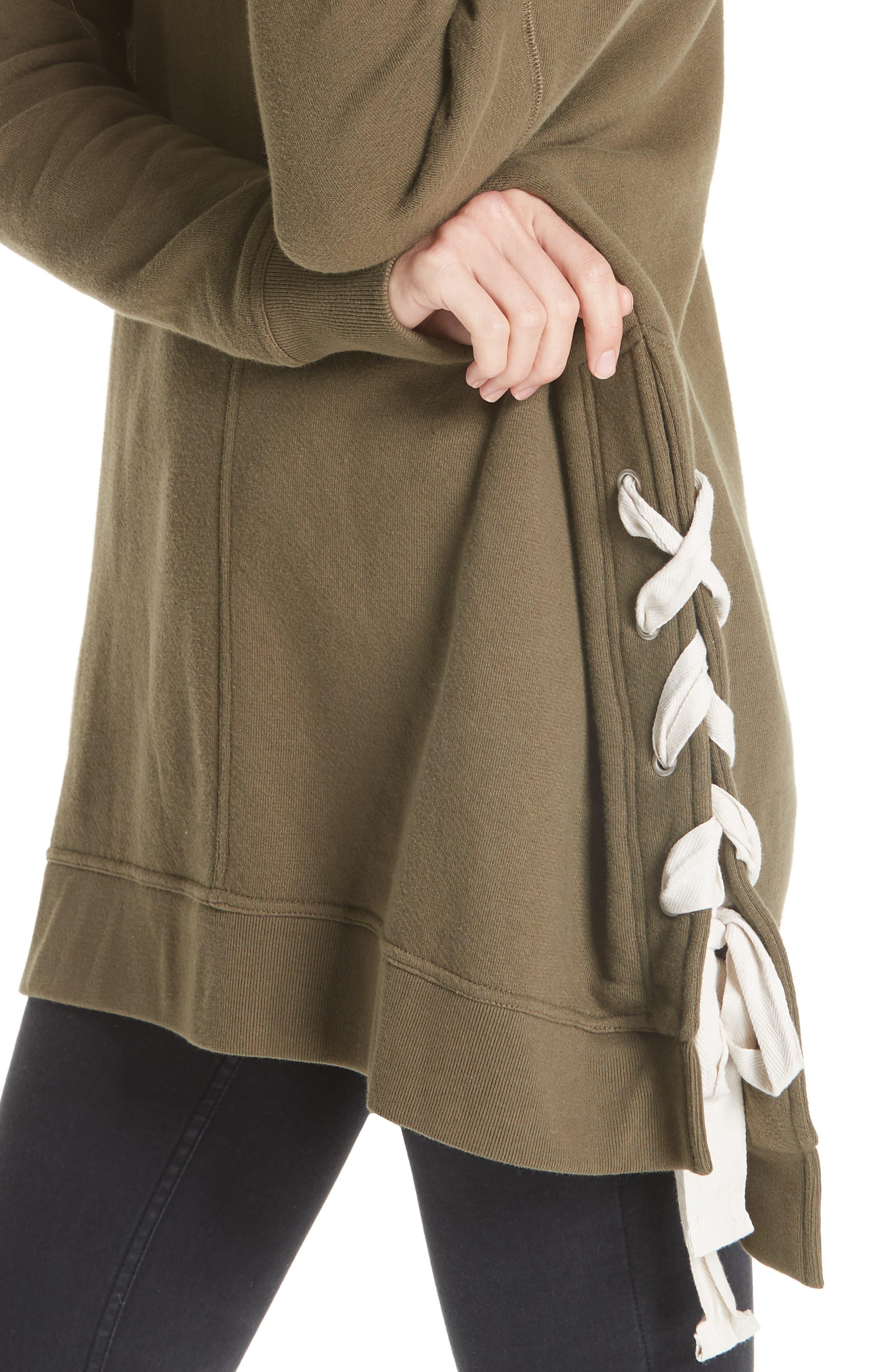 So Plush Lace-Up Pullover,                             Alternate thumbnail 4, color,                             MOSS