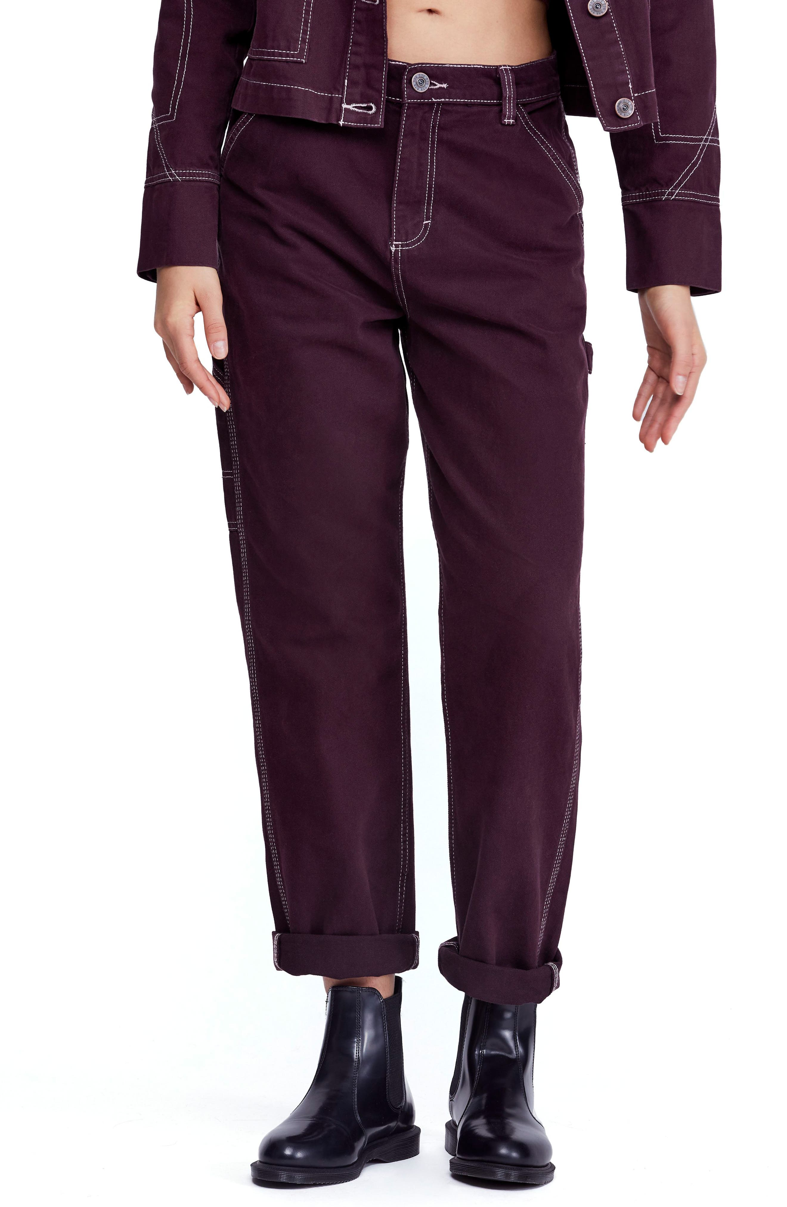Urban Outfitters Workwear Pants, Main, color, WINE