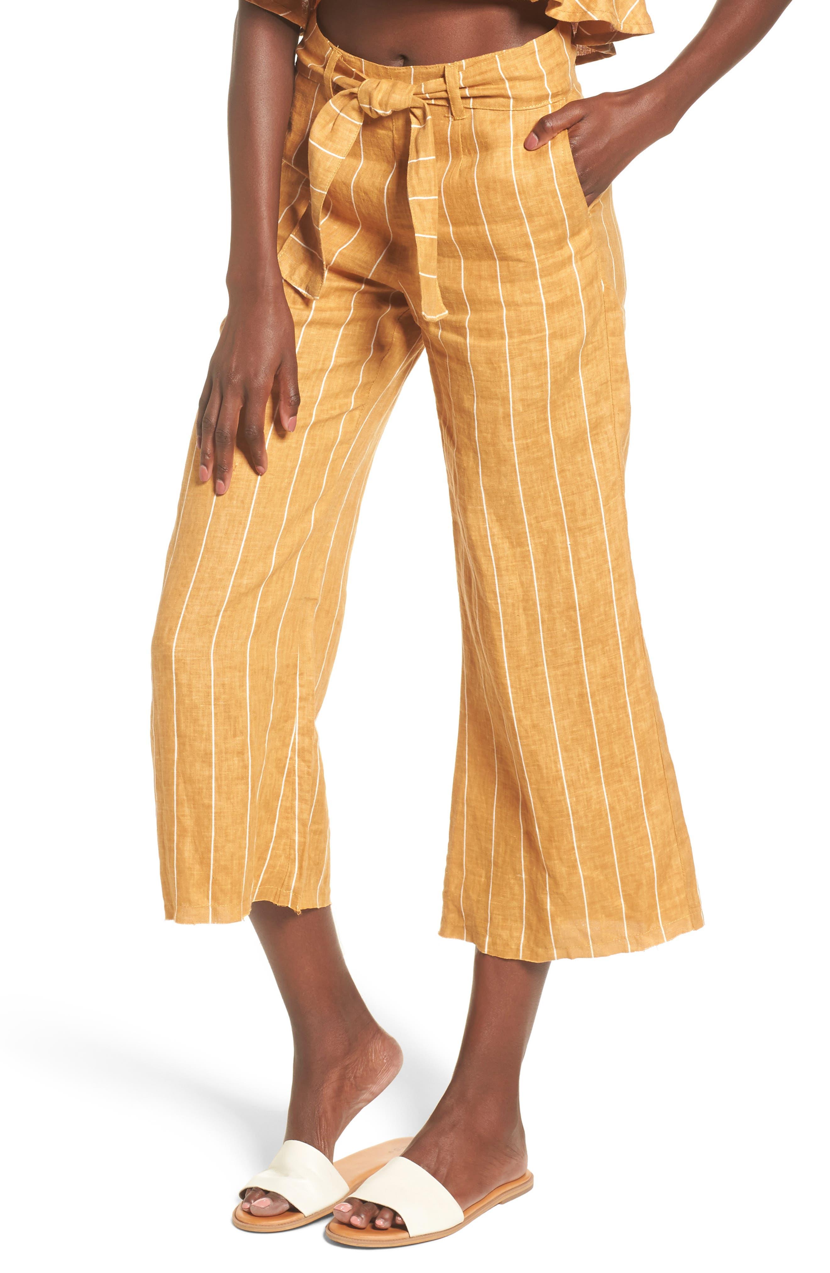Como Wide Leg Crop Linen Pants,                         Main,                         color, COPENHAGEN STRIPE