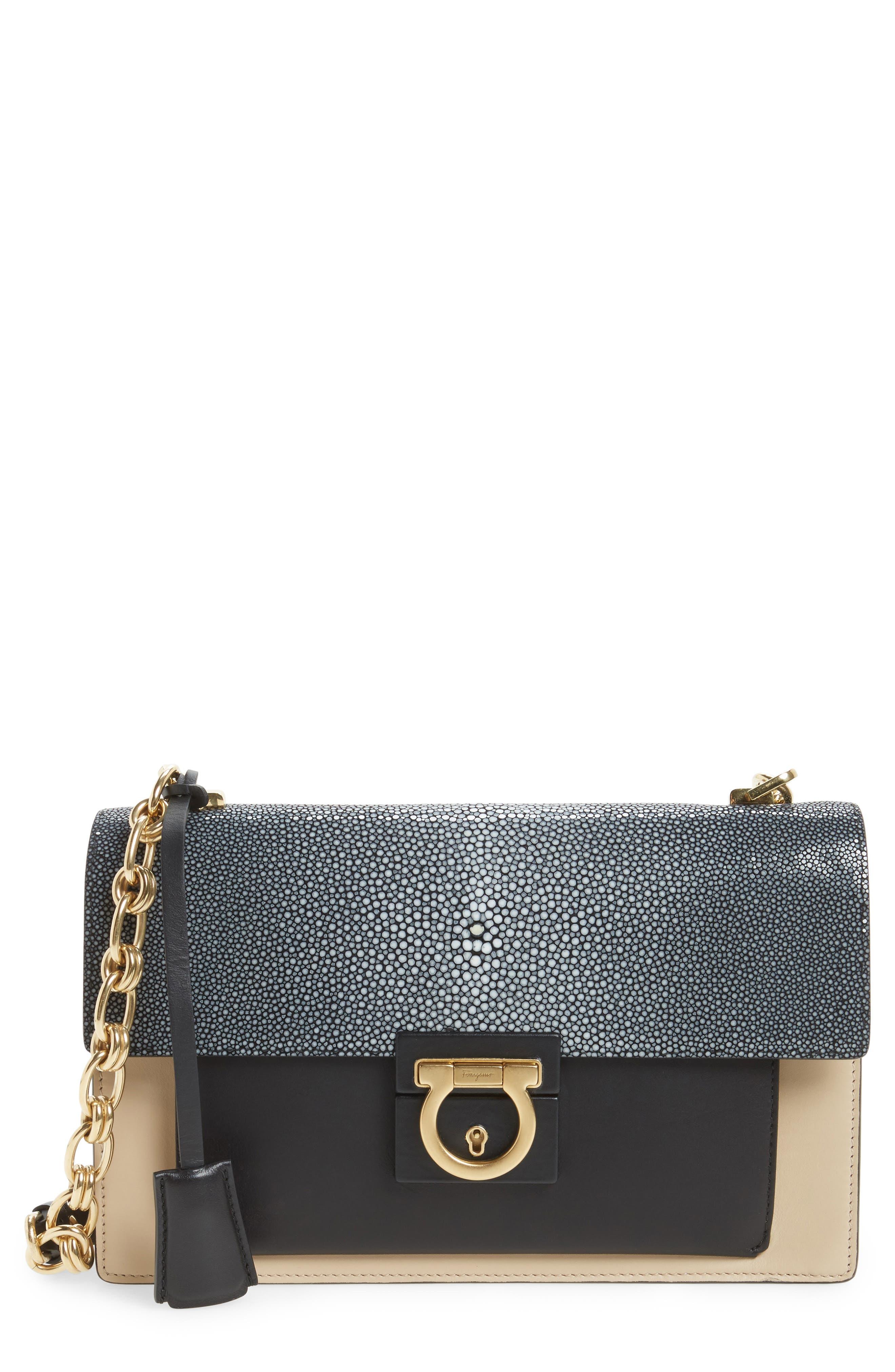SALVATORE FERRAGAMO,                             Stingray Leather Shoulder Bag,                             Main thumbnail 1, color,                             974