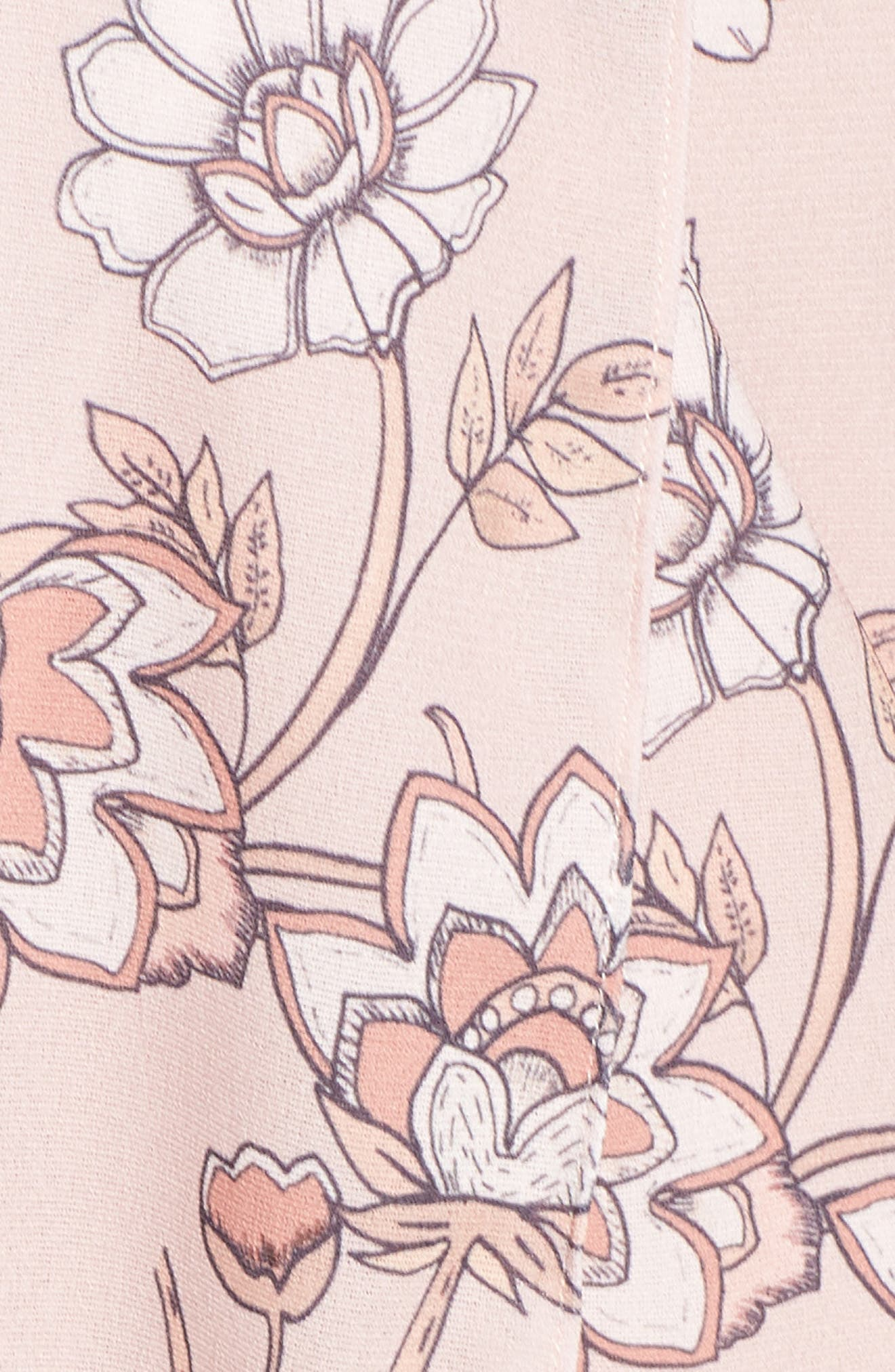 Fiorella Floral Drape Sheath Dress,                             Alternate thumbnail 6, color,                             650