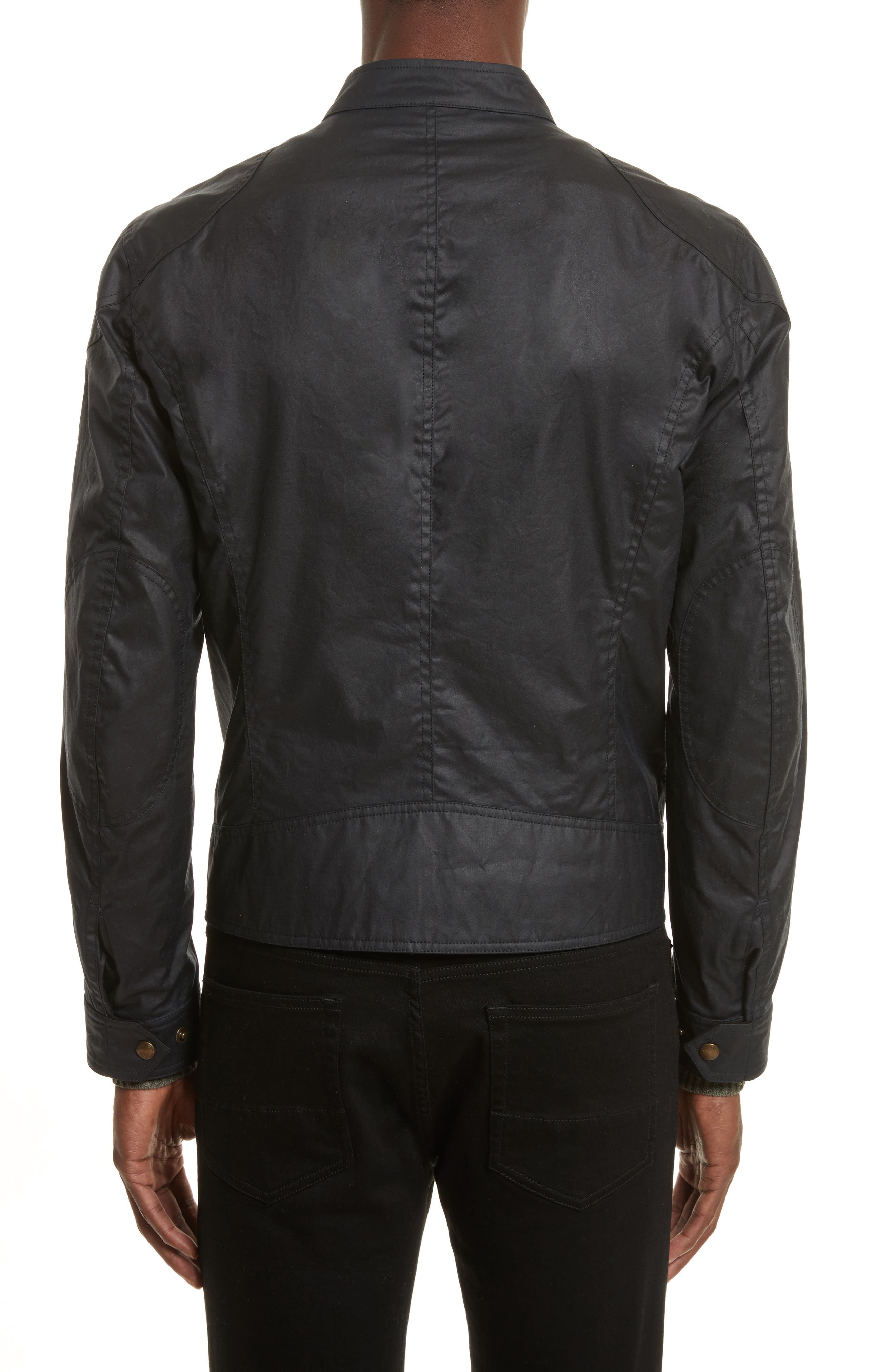 Kelland Coated Cotton Moto Jacket,                             Alternate thumbnail 2, color,                             DARK NAVY