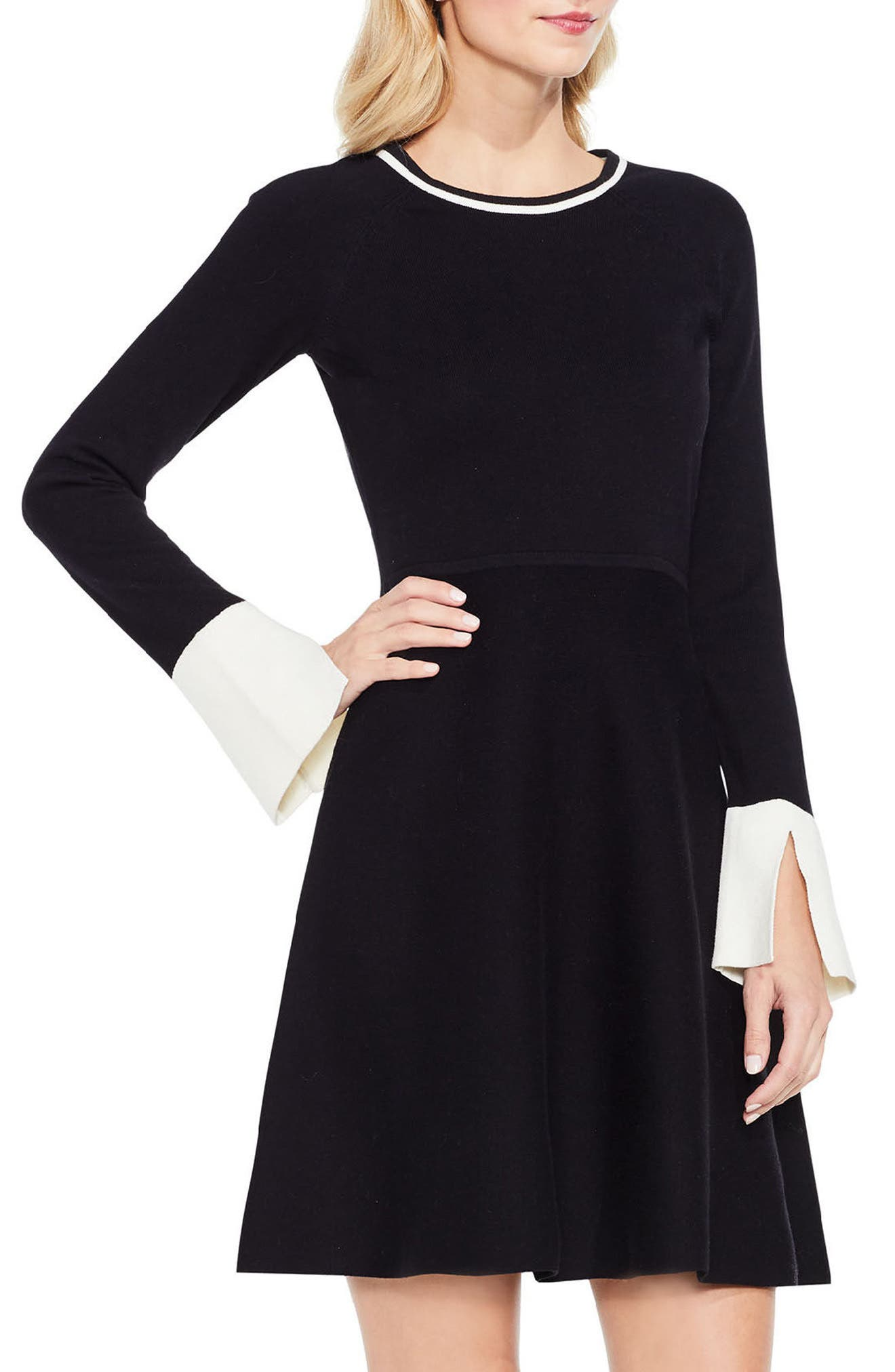 Fit & Flare Sweater Dress,                             Alternate thumbnail 3, color,                             006