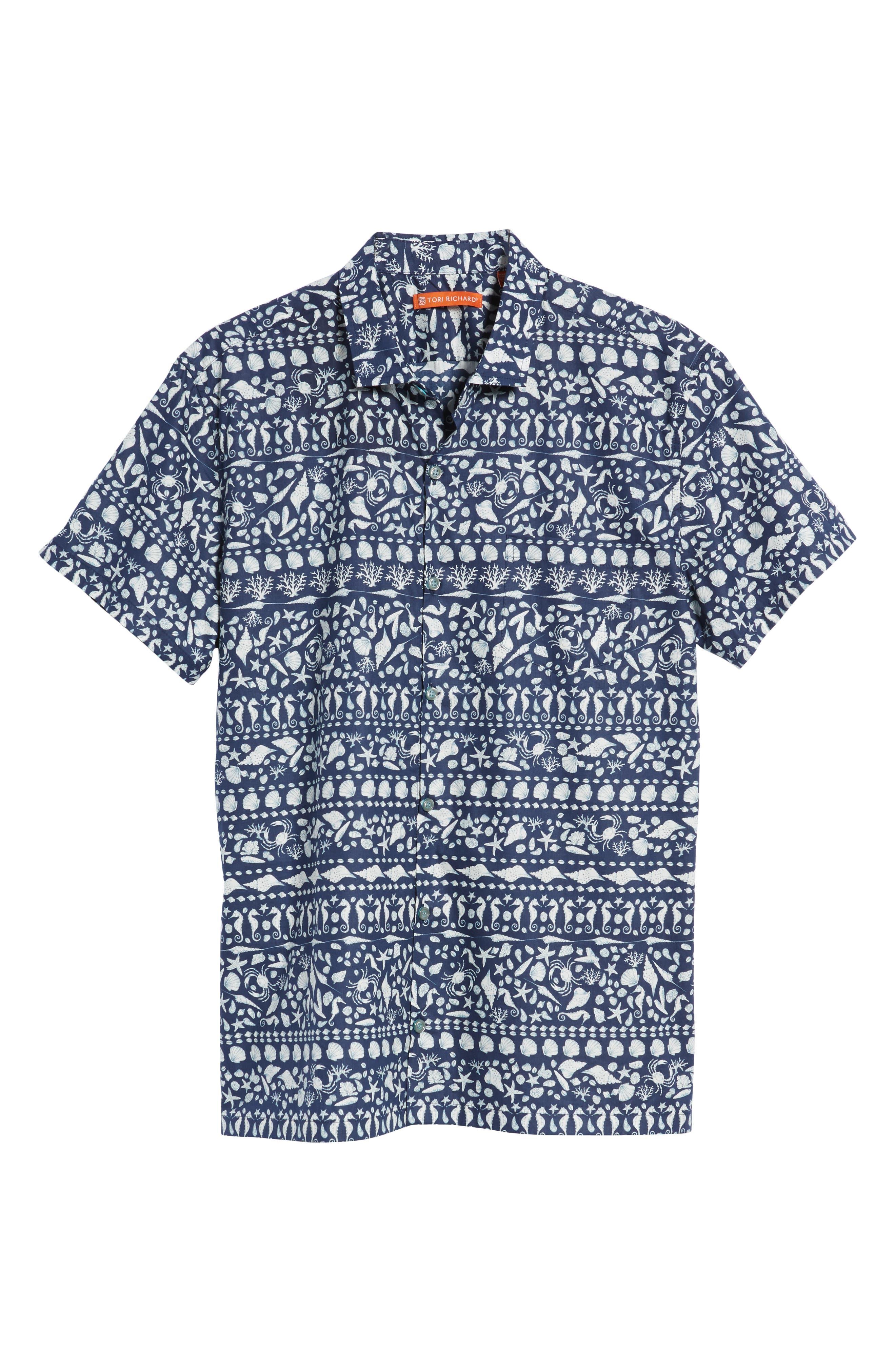 Lord Shells Trim Fit Camp Shirt,                             Alternate thumbnail 6, color,                             NAVY